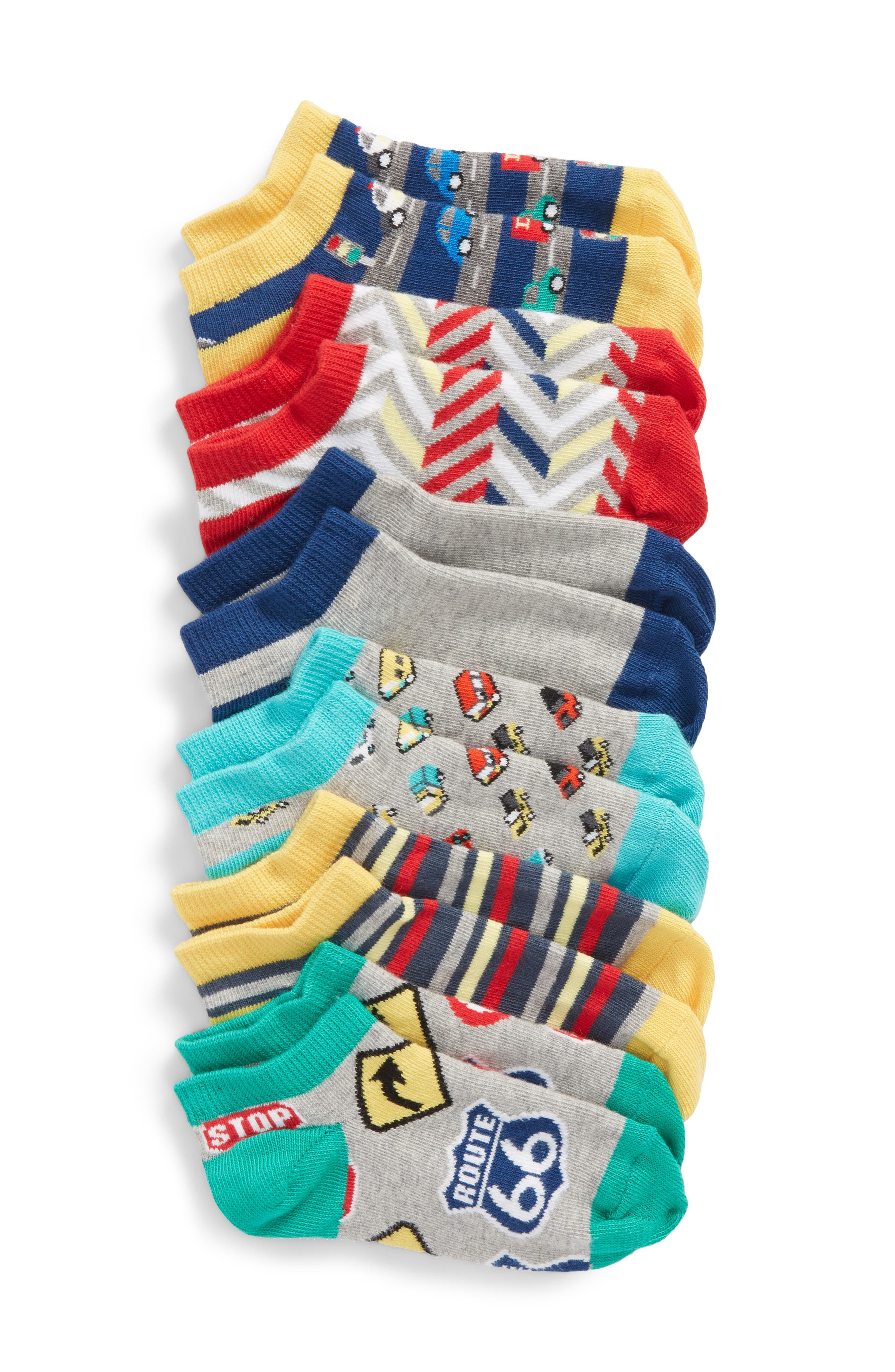 6-Pack Vehicle Low Cut Socks,                         Main,                         color, Grey Castlerock/Green Multi
