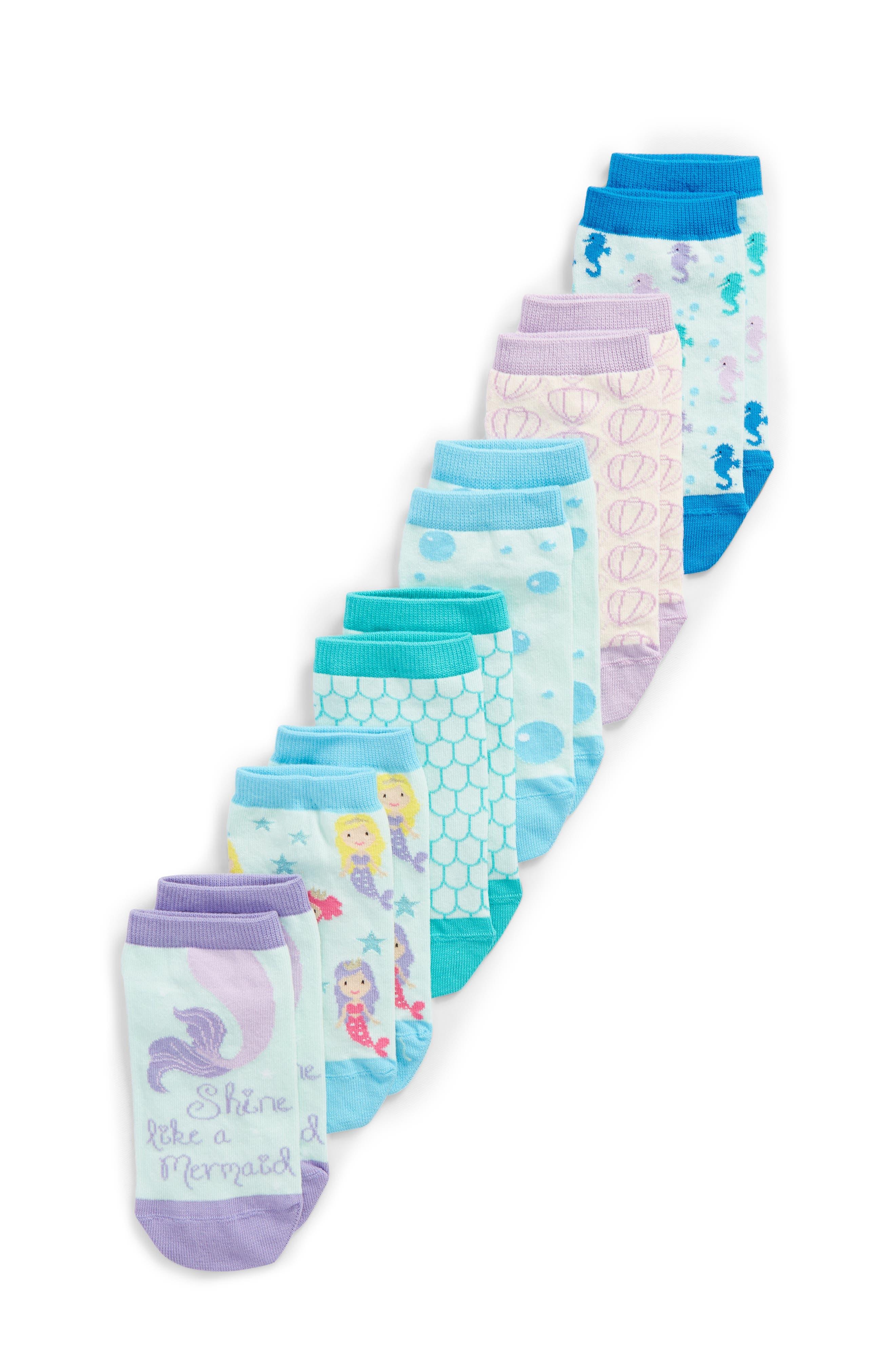 6-Pack Mermaid Low Cut Socks,                         Main,                         color, Blue Multi