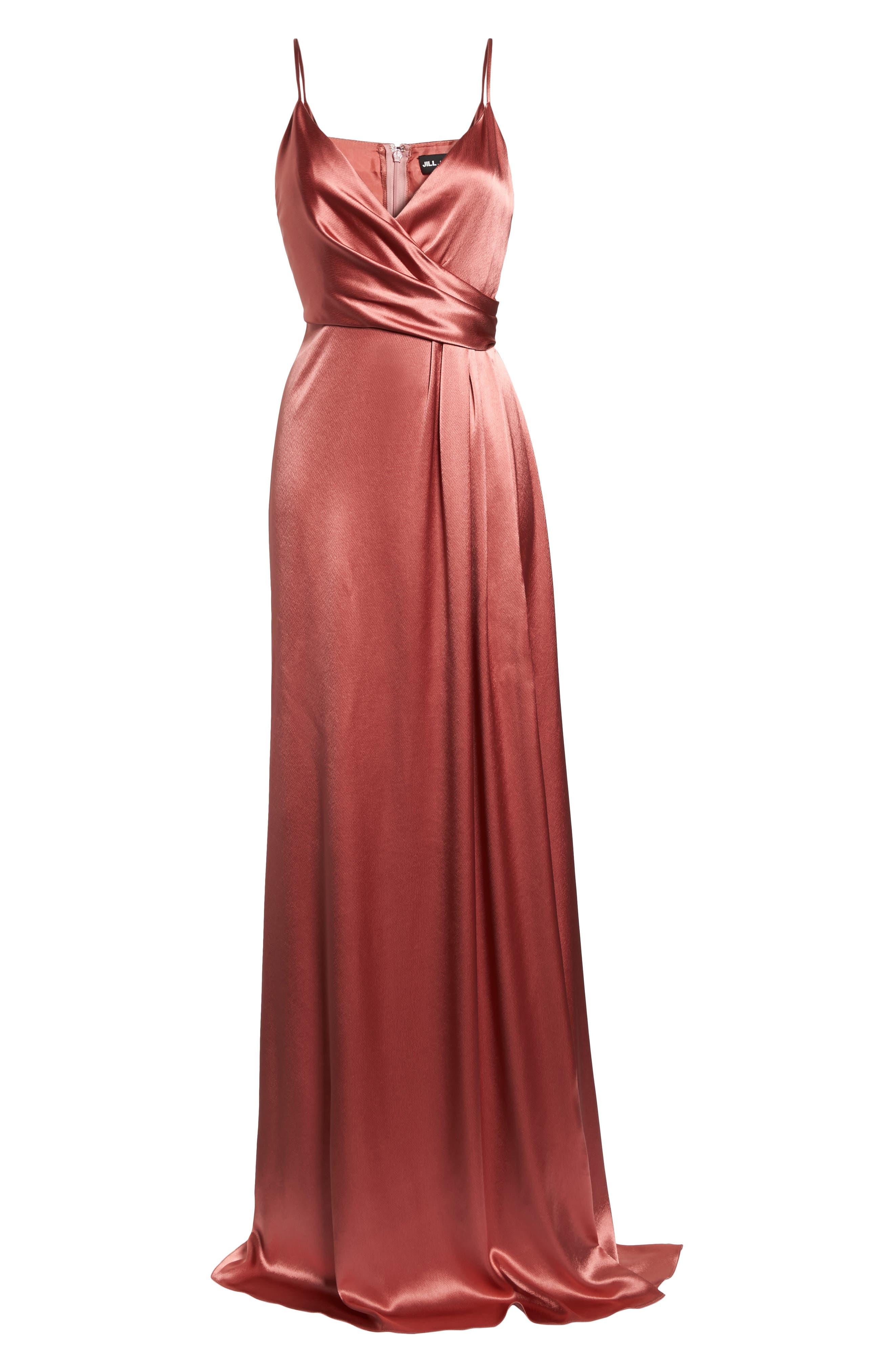 Faux Wrap Satin Gown,                             Alternate thumbnail 6, color,                             Rosewood