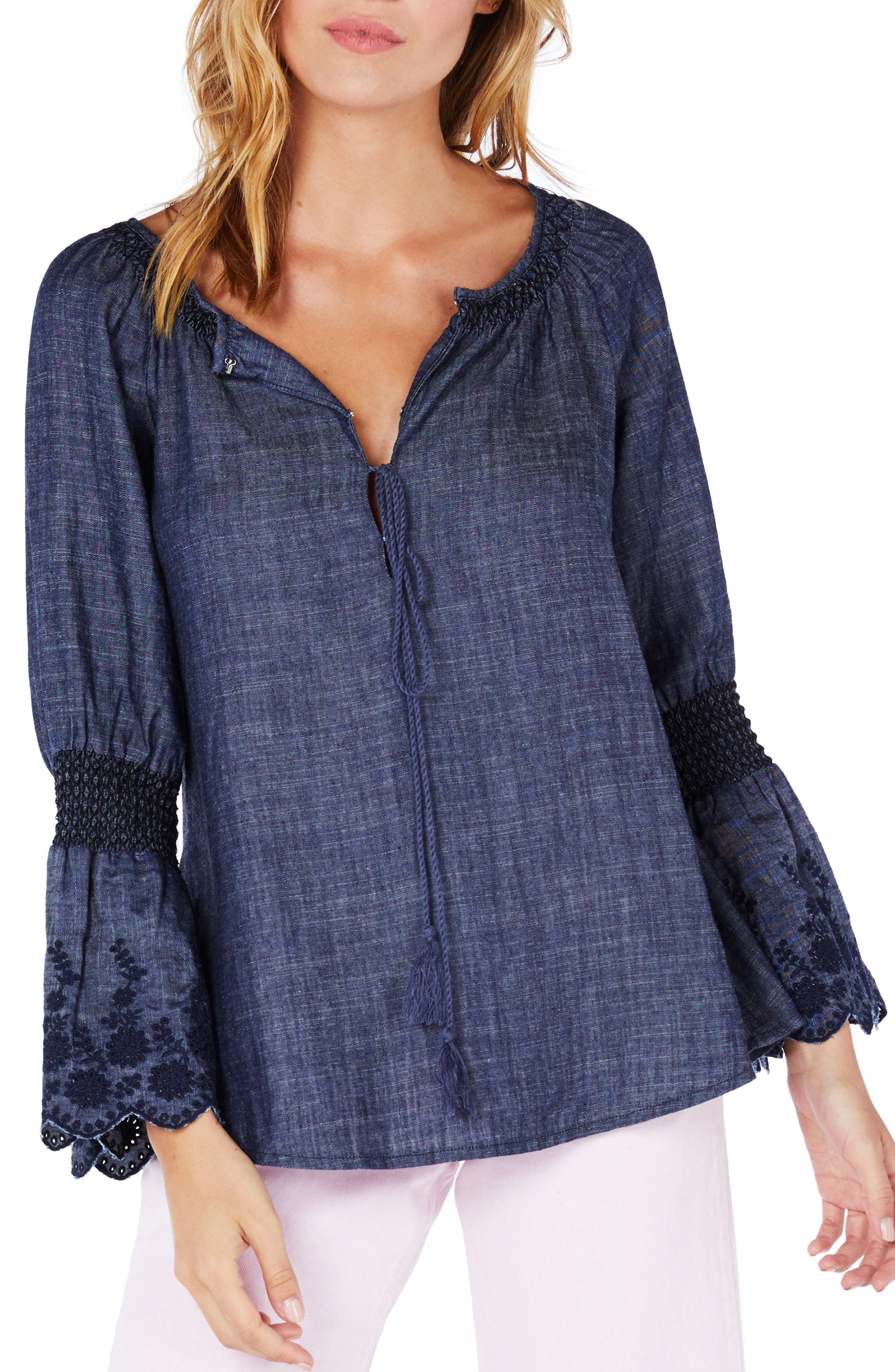Michael Stars Frilled Sleeve Peasant Top