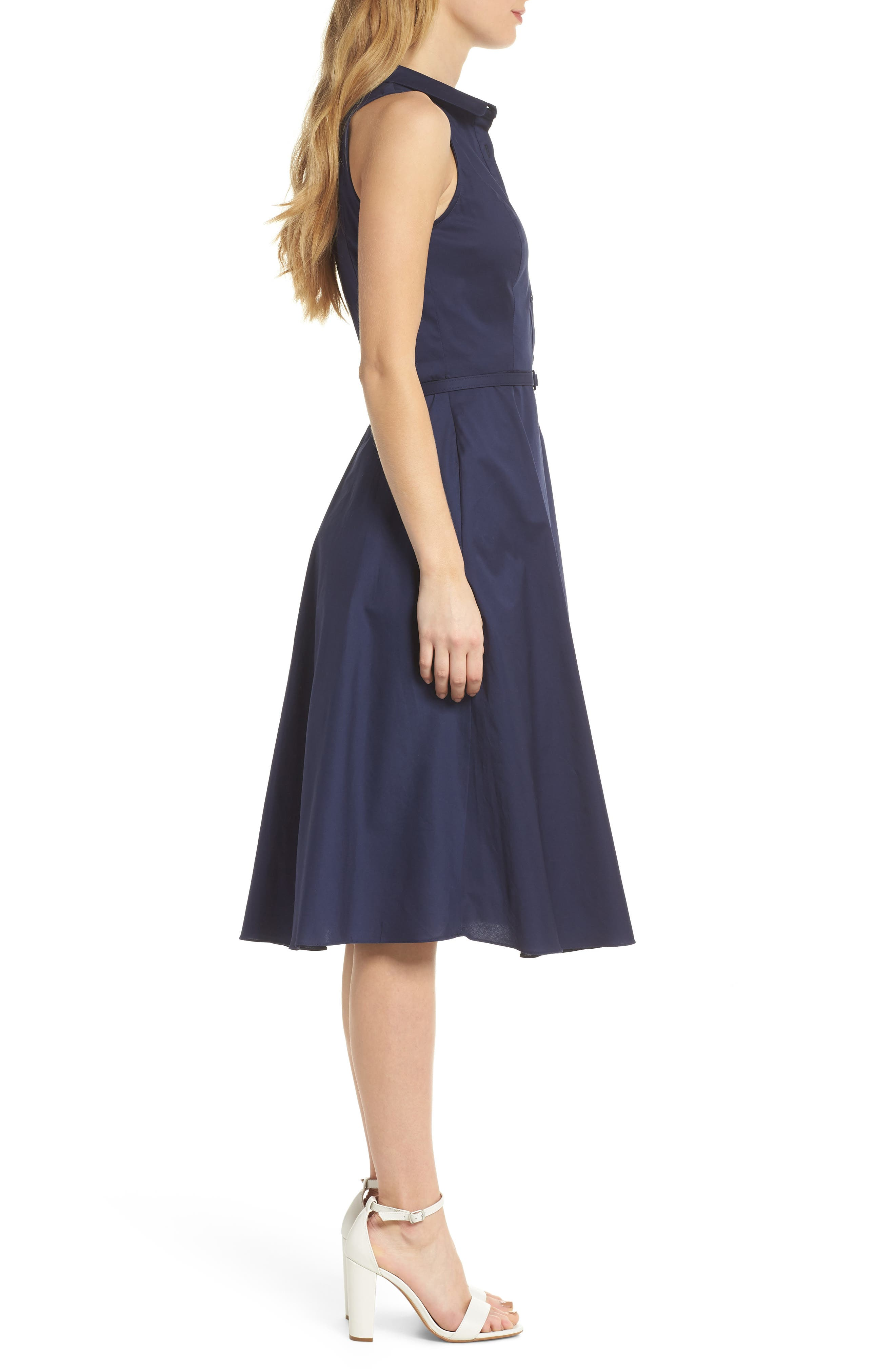 Rose Sleeveless Cotton Poplin Shirtdress,                             Alternate thumbnail 4, color,                             Navy