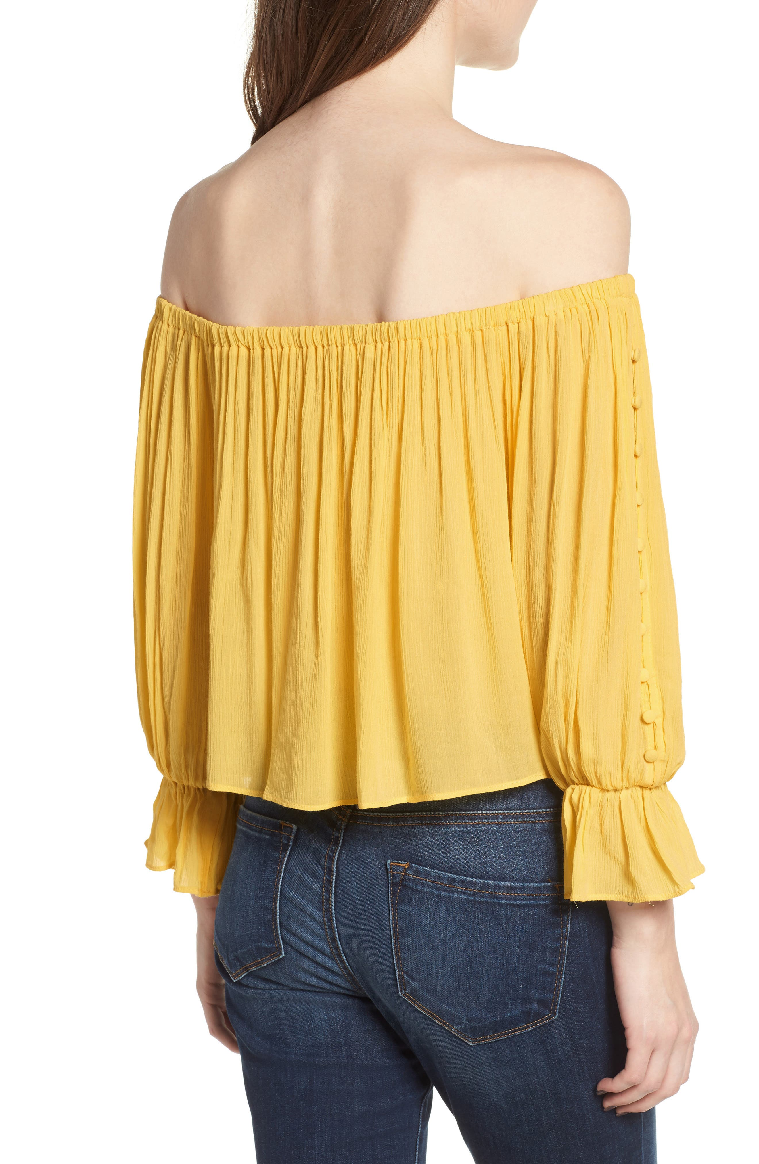 Button Sleeve Off the Shoulder Top,                             Alternate thumbnail 2, color,                             Yellow