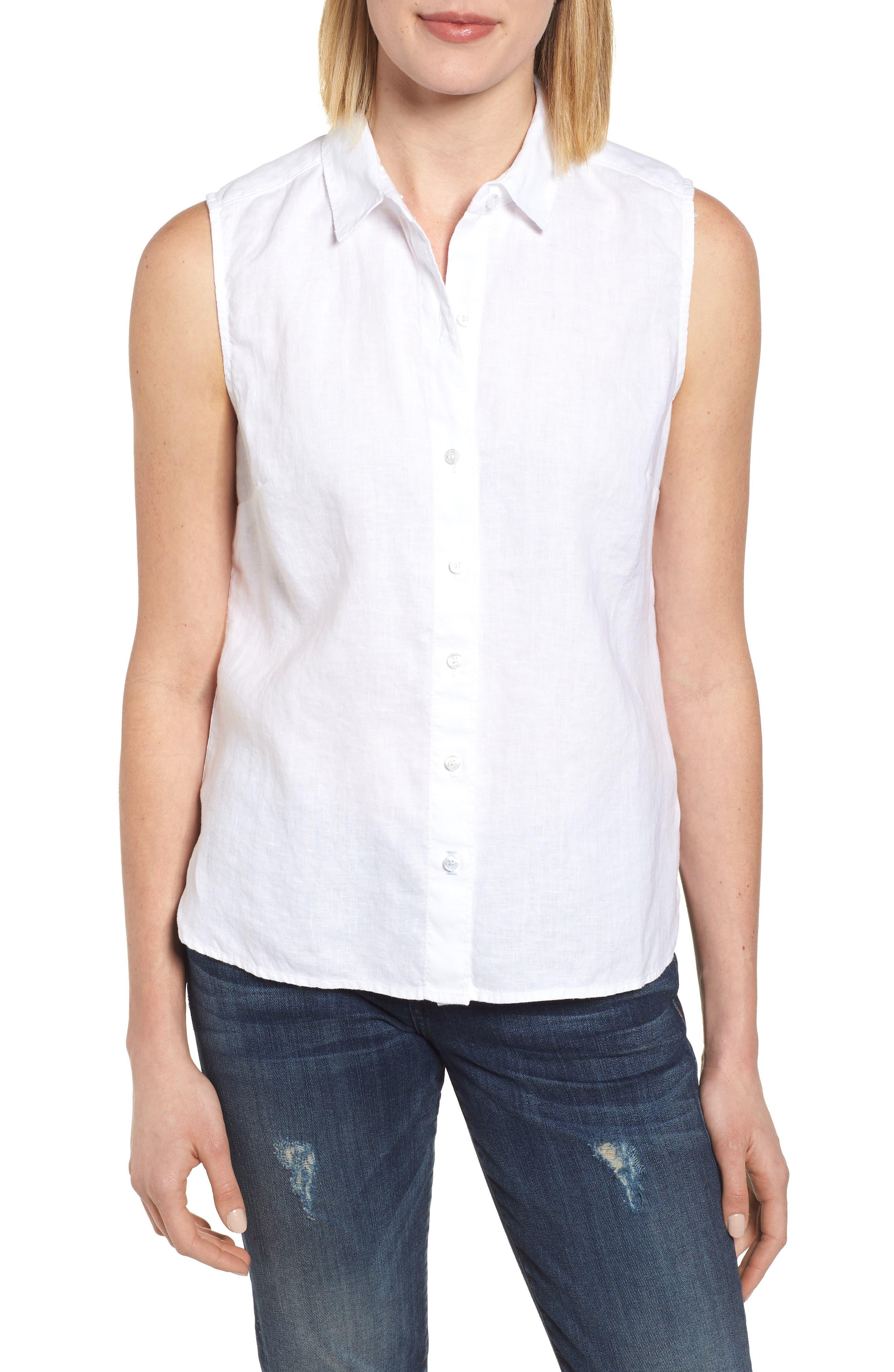 Sea Glass Breezer Linen Shirt,                             Main thumbnail 1, color,                             White