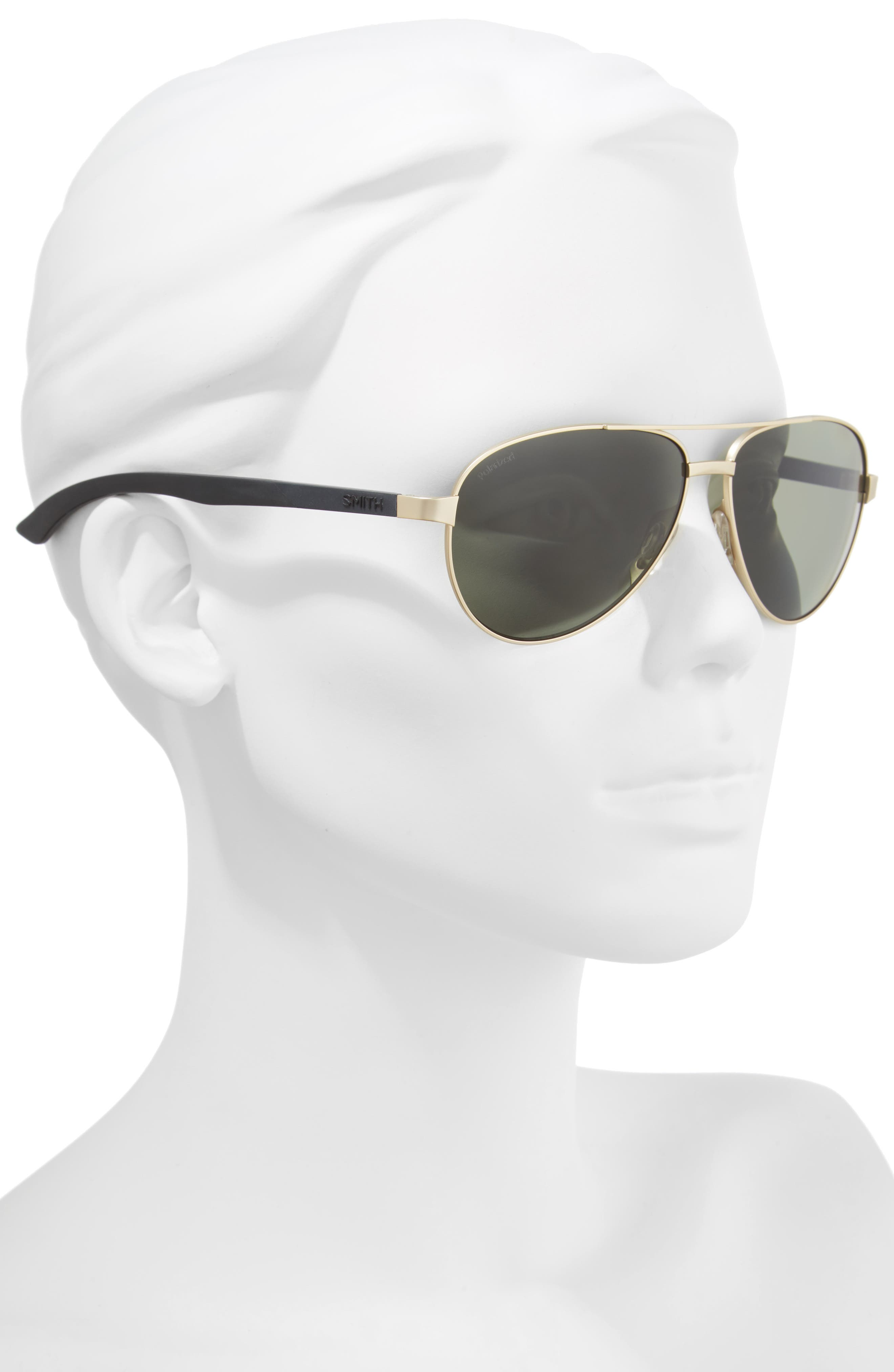 Salute 59mm Polarized Aviator Sunglasses,                             Alternate thumbnail 2, color,                             Matte Gold
