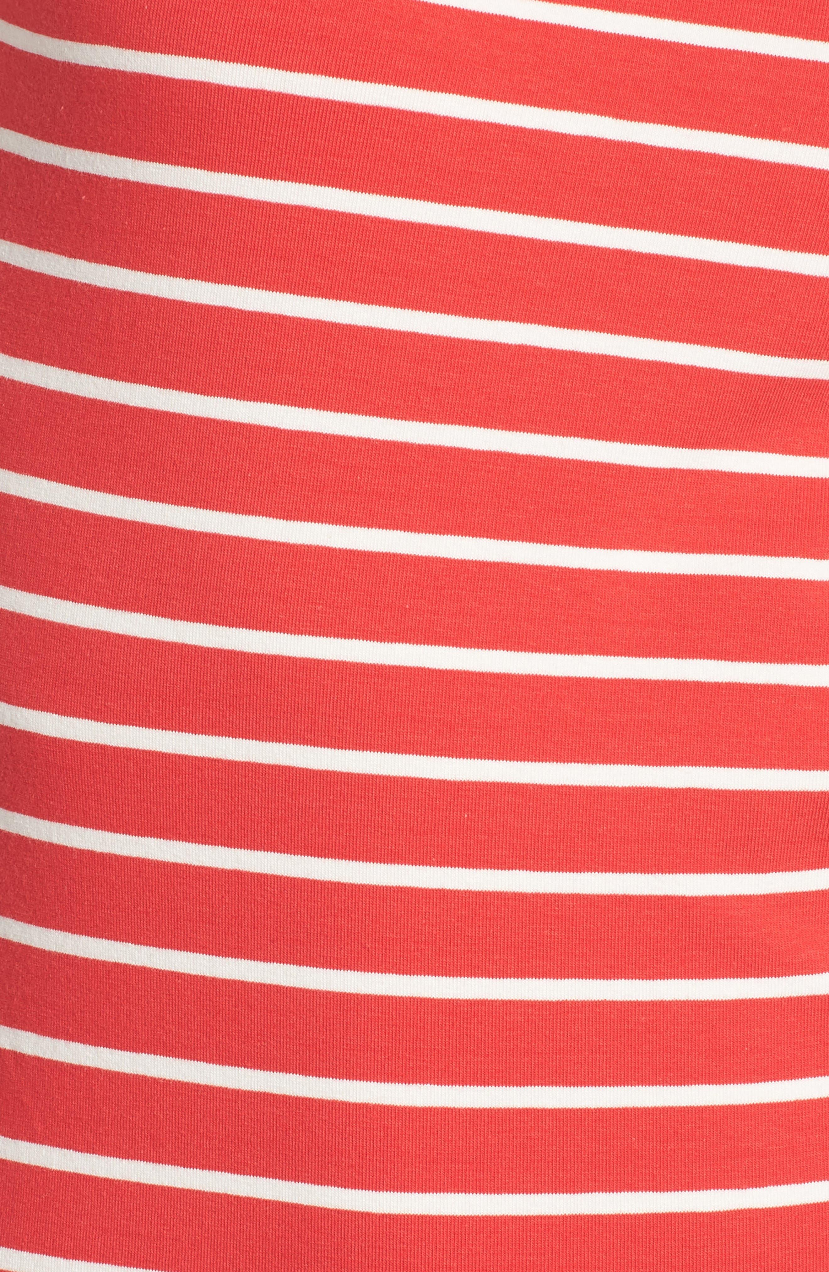 Knit Stripe Body-Con Dress,                             Alternate thumbnail 6, color,                             Shanghai Red/ Summer White