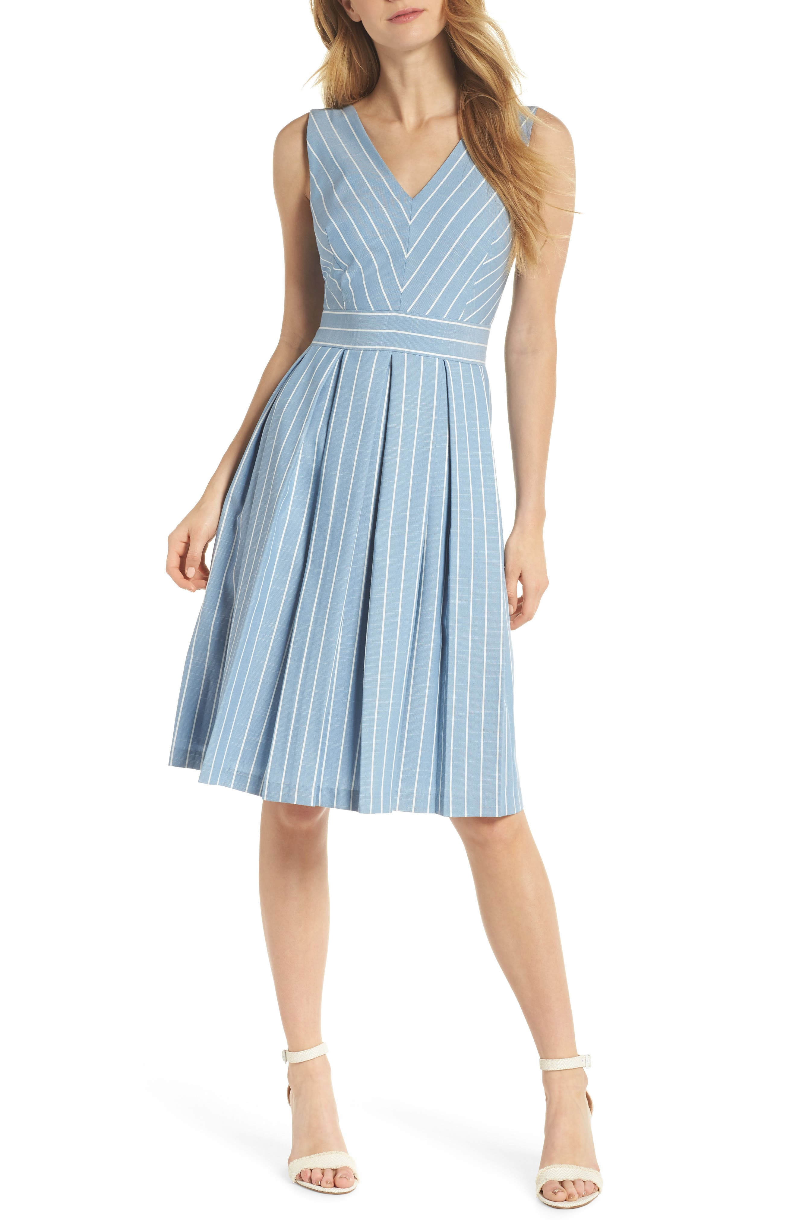 Samantha Slub Stripe Fit & Flare Dress,                         Main,                         color, Blue/ White