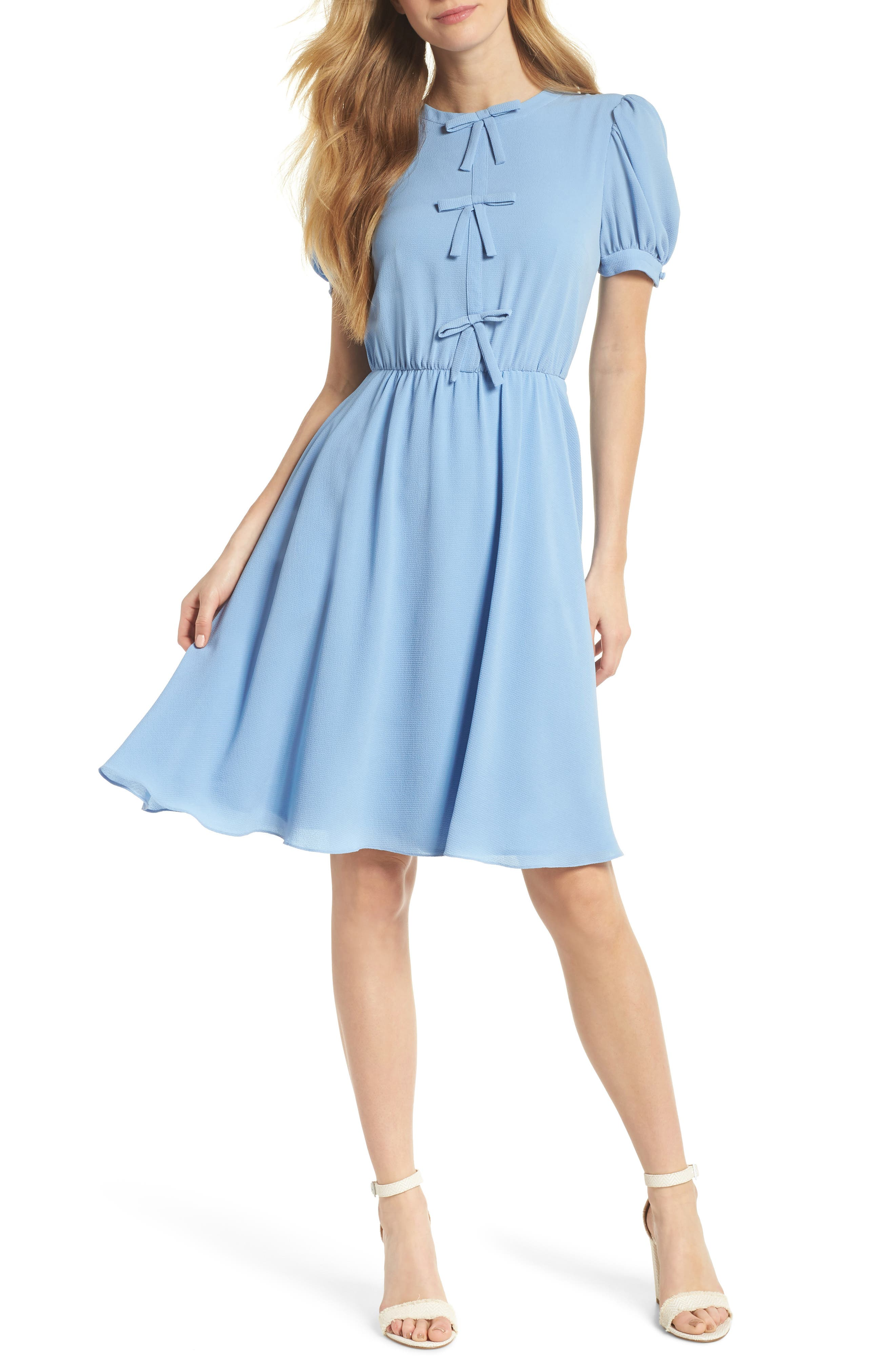 Ellie Crepe Puff Sleeve Dress,                             Main thumbnail 1, color,                             Sky Blue
