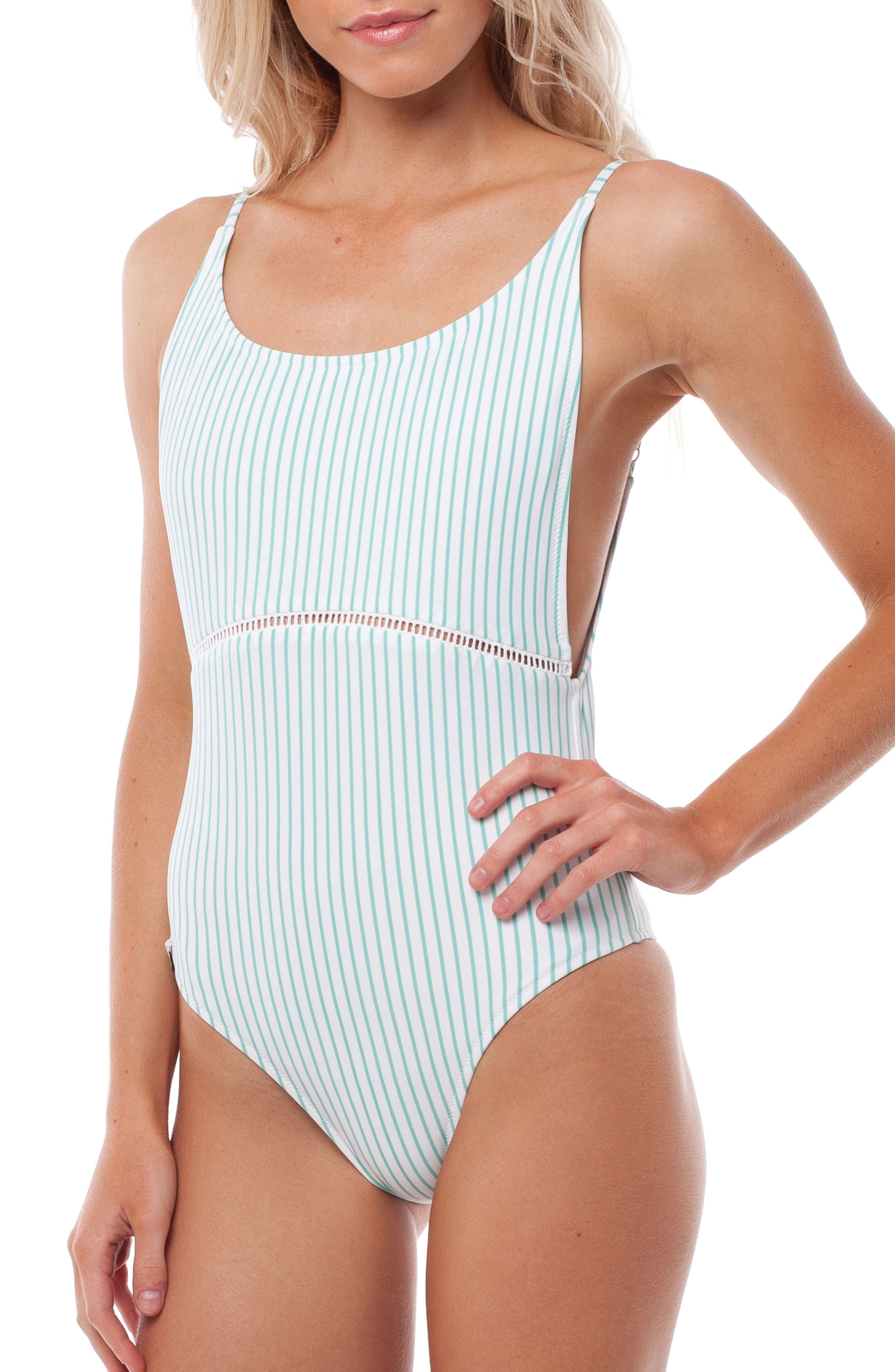 Summer Stripe One-Piece Swimsuit,                             Alternate thumbnail 3, color,                             Aruba