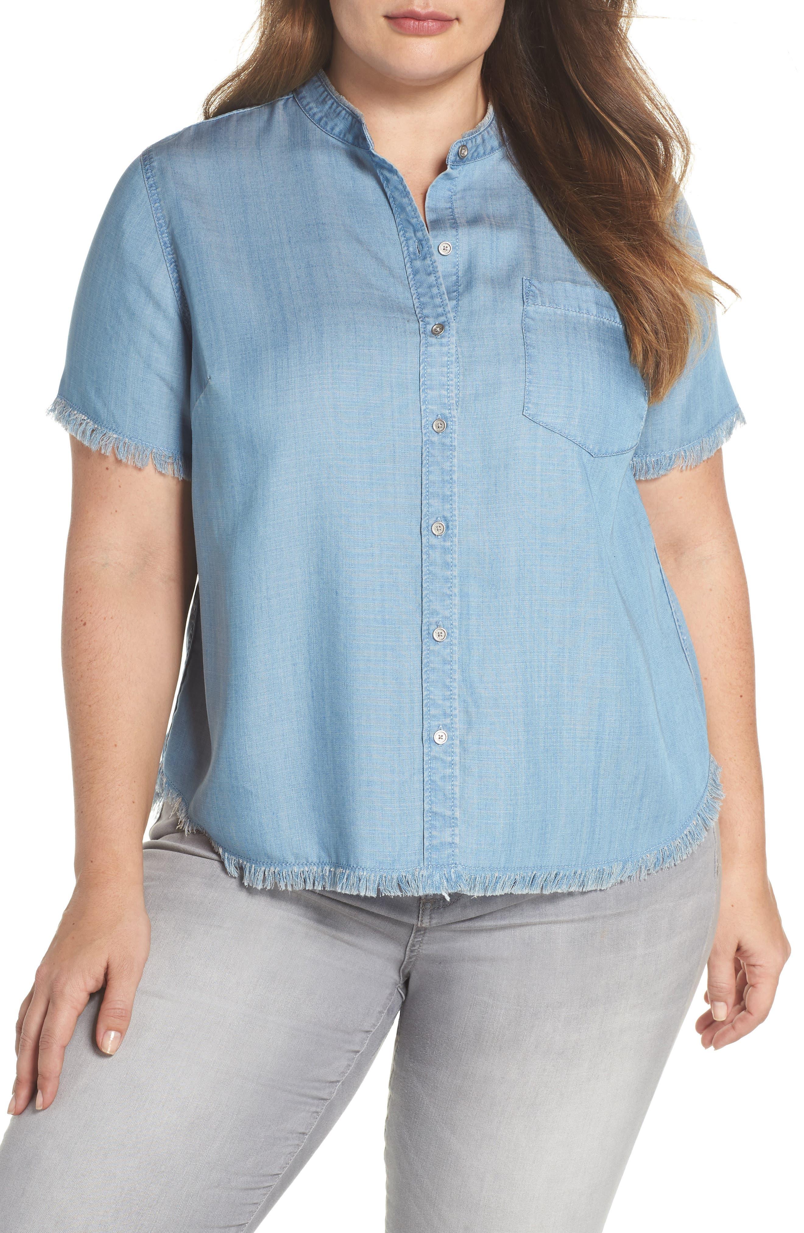 Frayed Edge Linen Chambray Shirt,                             Main thumbnail 1, color,                             Vintage