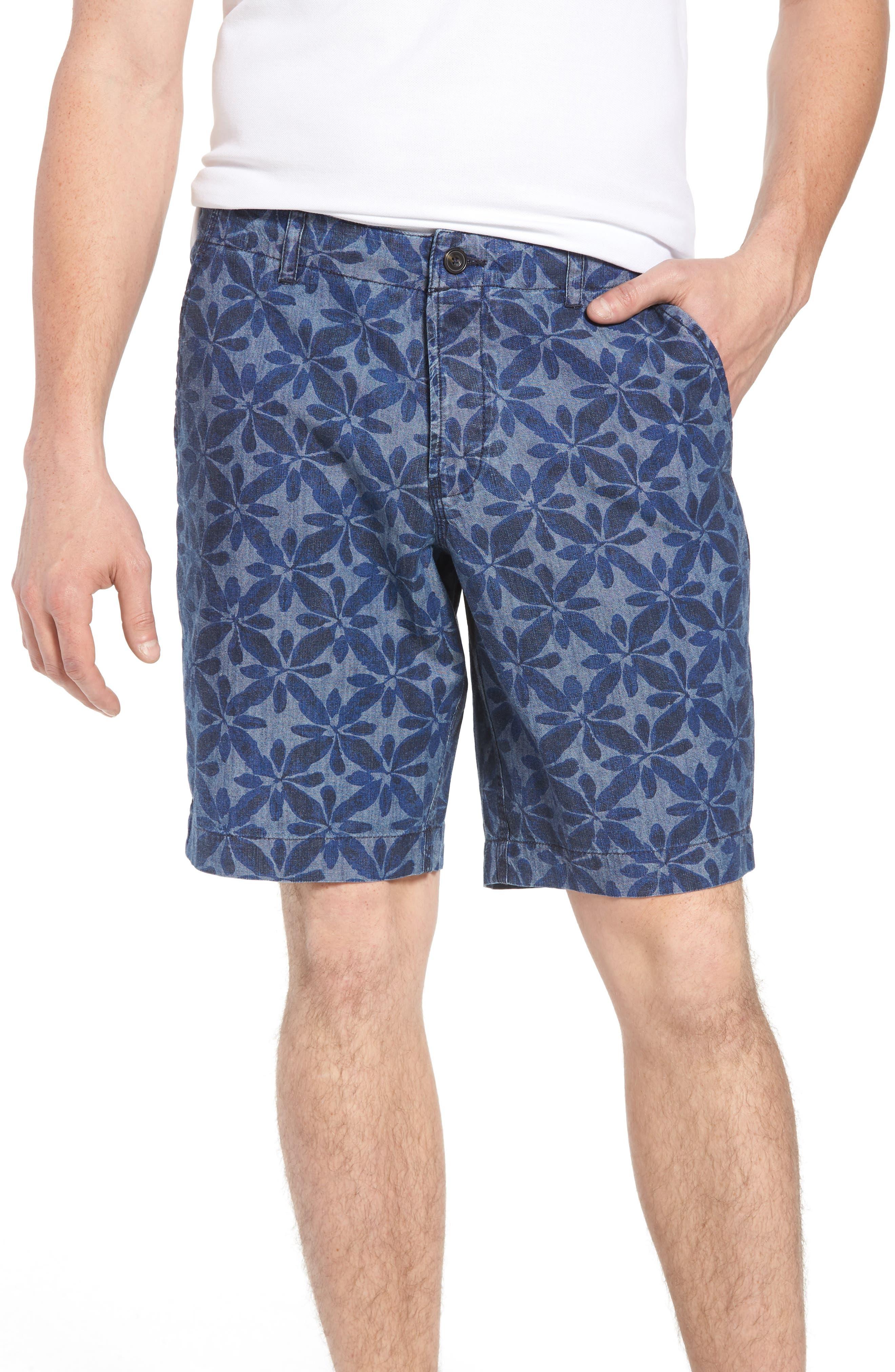 Franju Floral Cotton Shorts,                         Main,                         color, Rinse And Softener