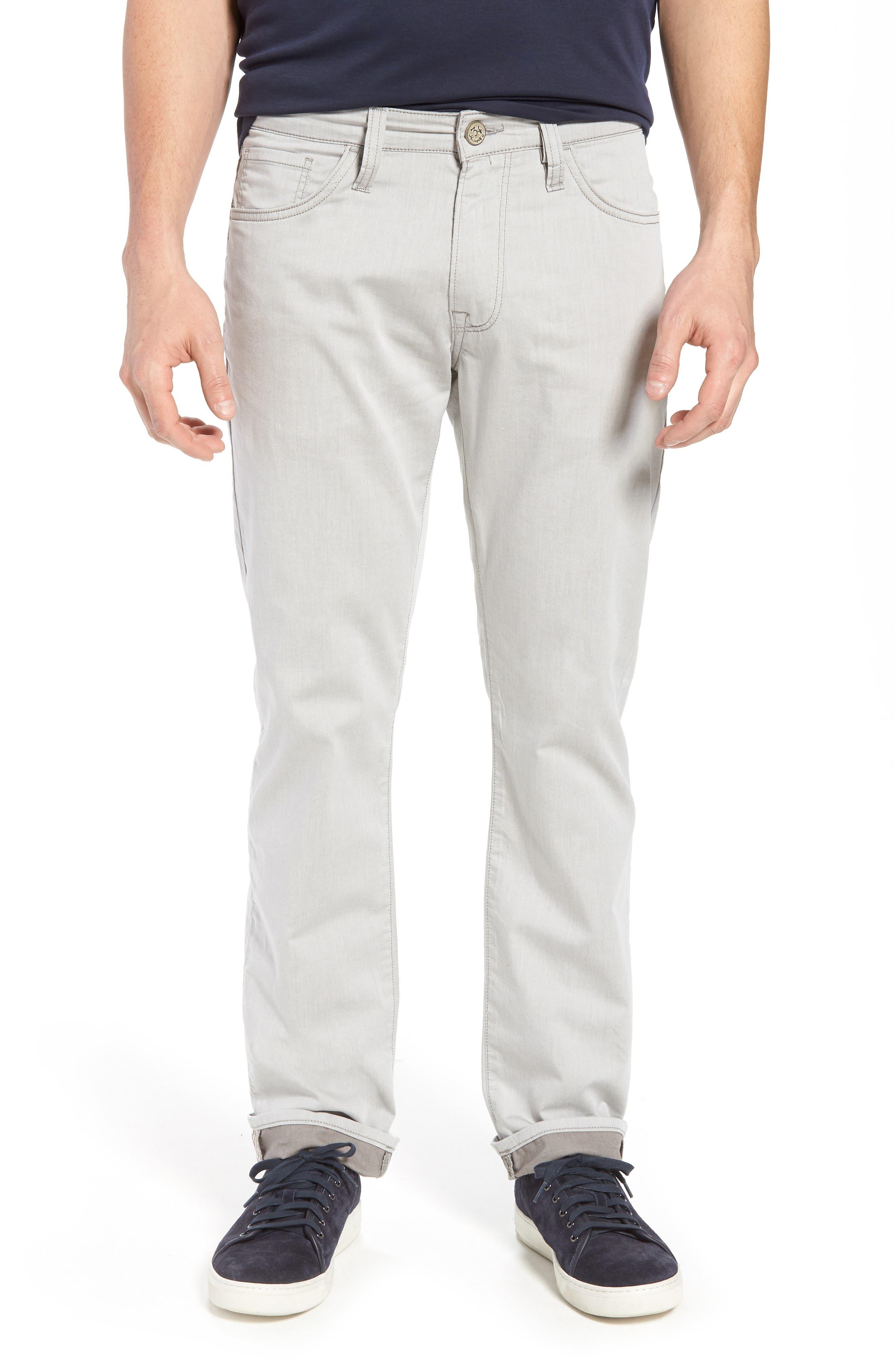 Courage Straight Leg Jeans,                             Main thumbnail 1, color,                             Latte Herringbone Reversed