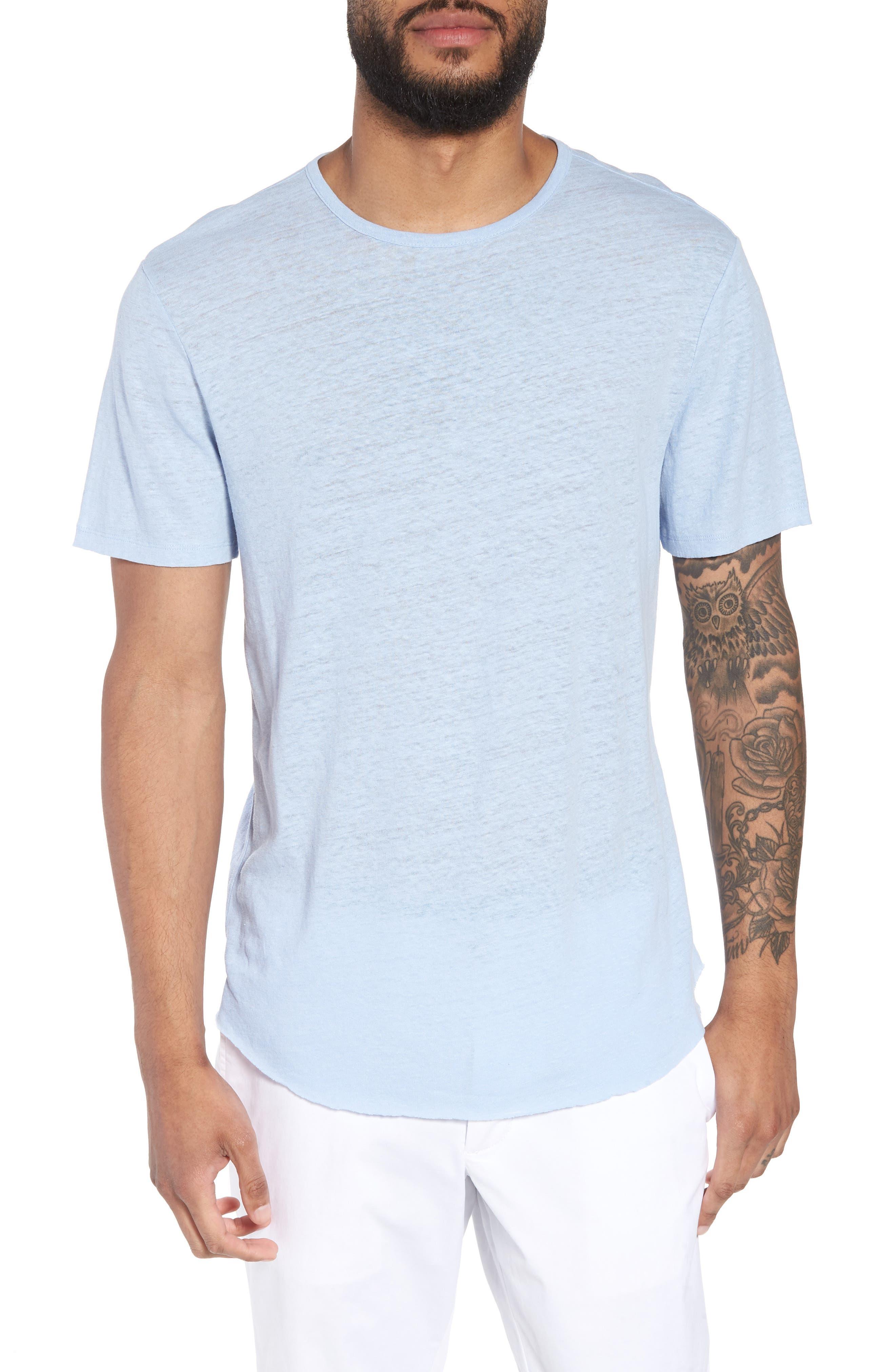 Raw Hem Linen & Cotton T-Shirt,                             Main thumbnail 1, color,                             Feather