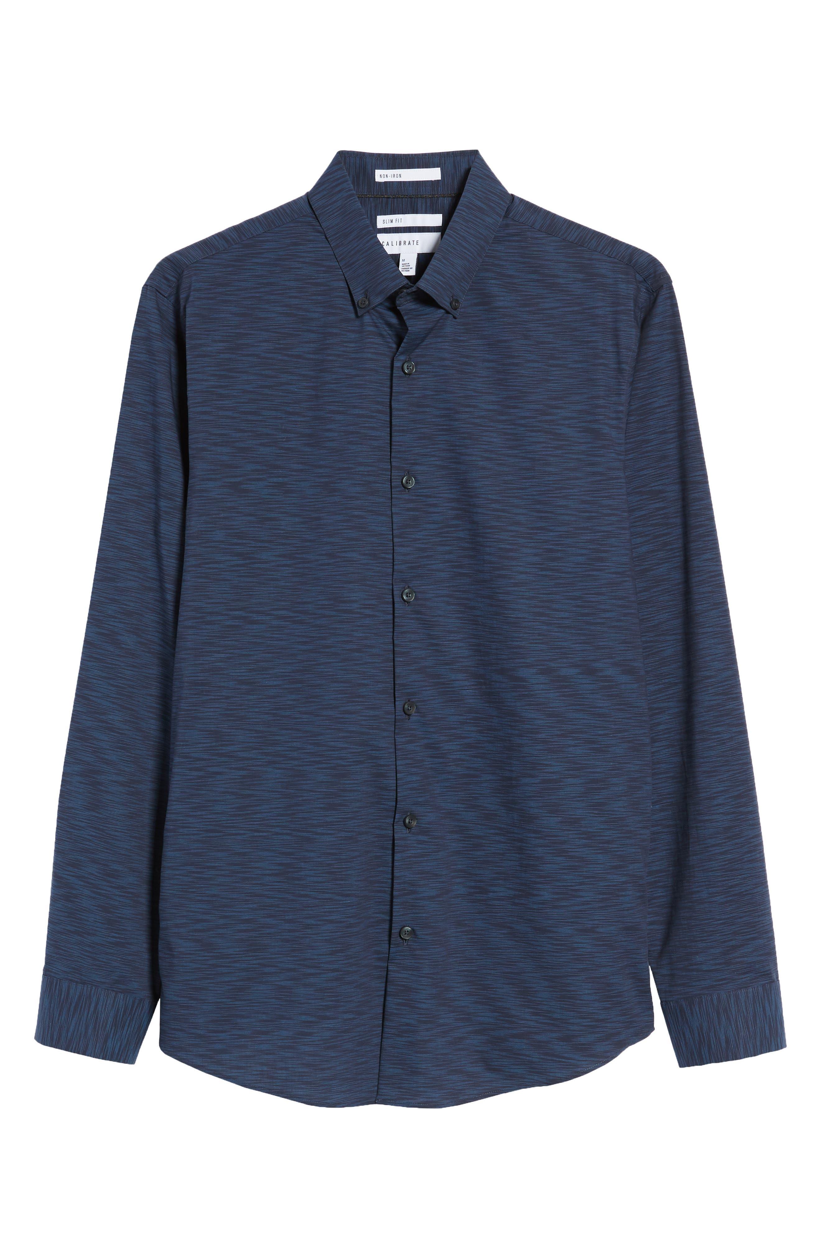 Trim Fit Solid Sport Shirt,                             Alternate thumbnail 6, color,                             Navy Blue Space Dye