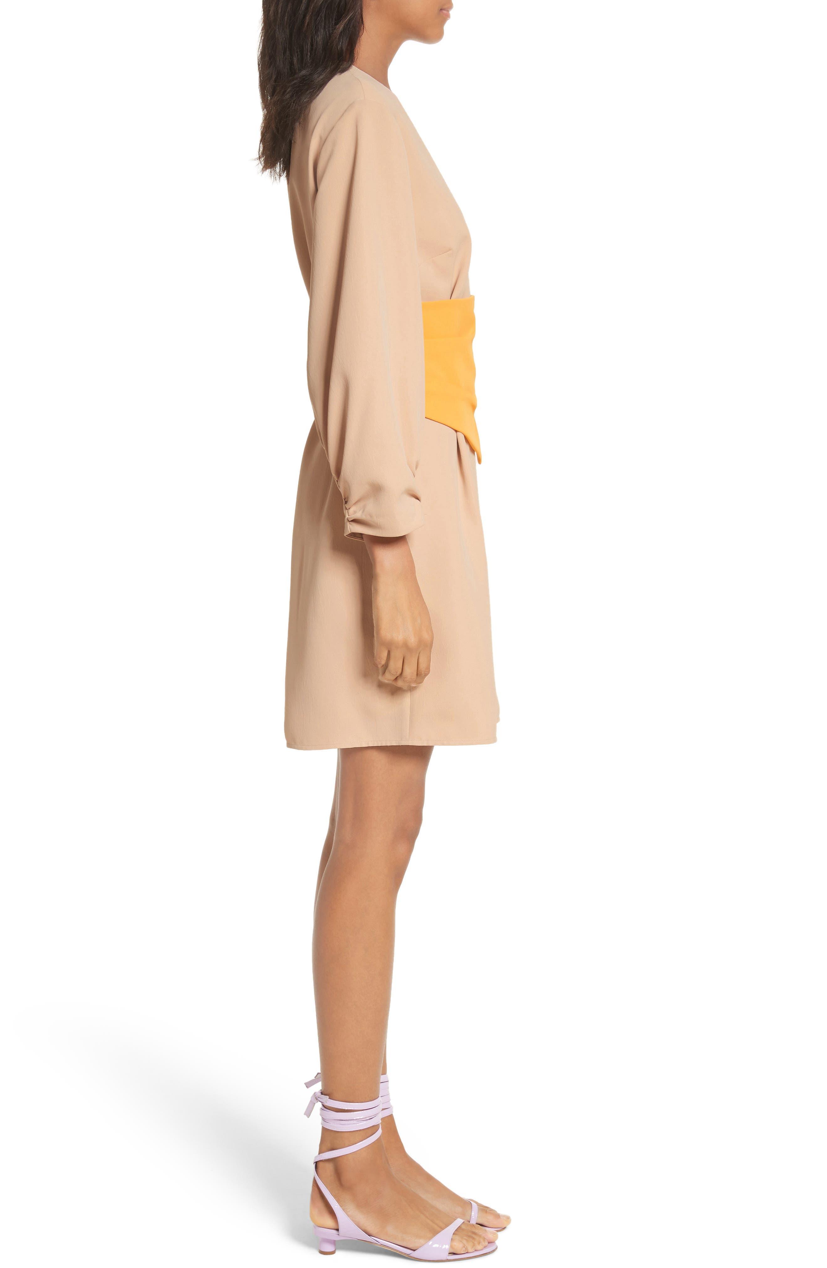 Shirred Sleeve Corset Dress,                             Alternate thumbnail 3, color,                             Nude/ Orange Multi