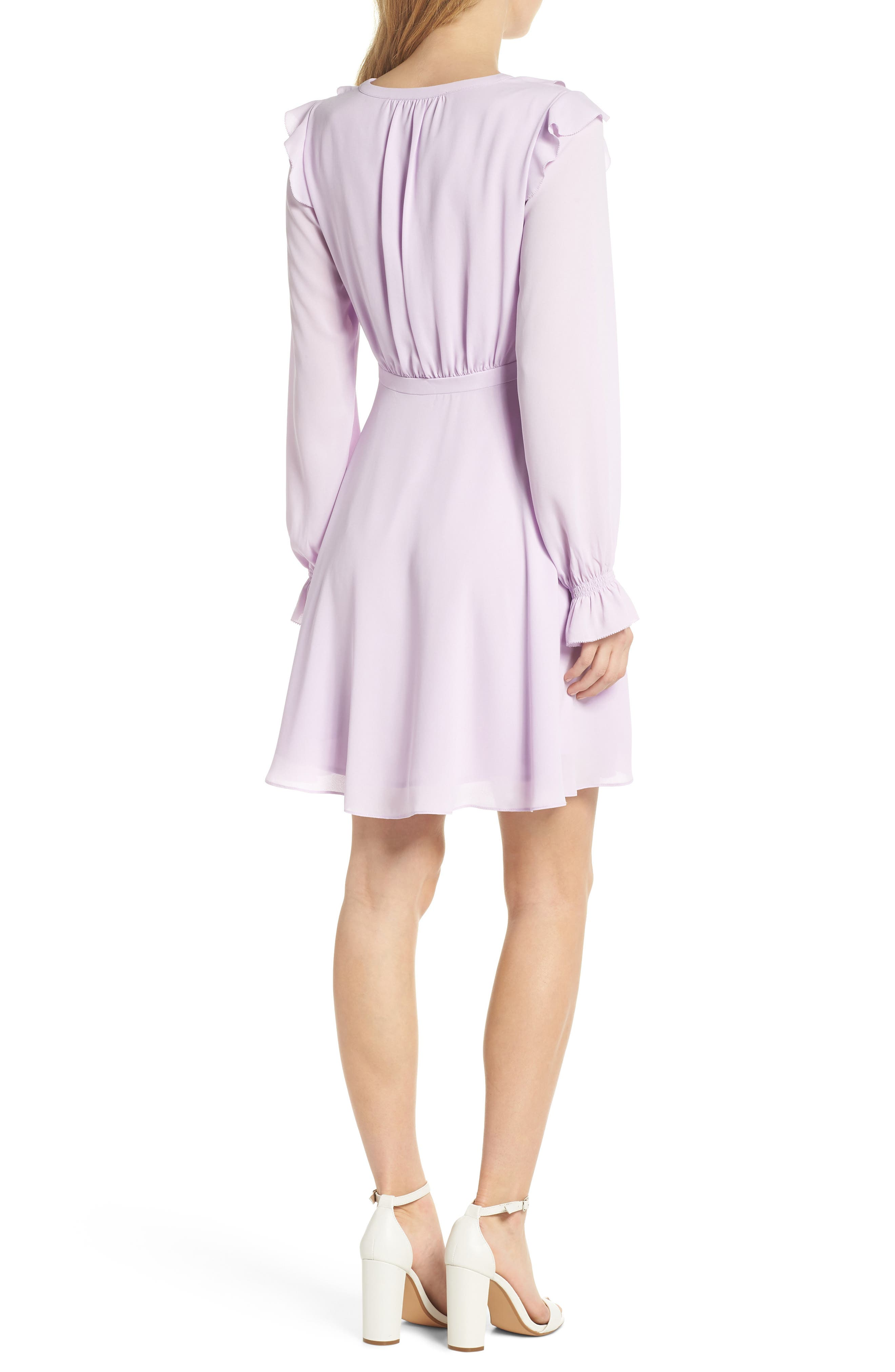 Haley Ruffle Georgette Dress,                             Alternate thumbnail 3, color,                             Lilac