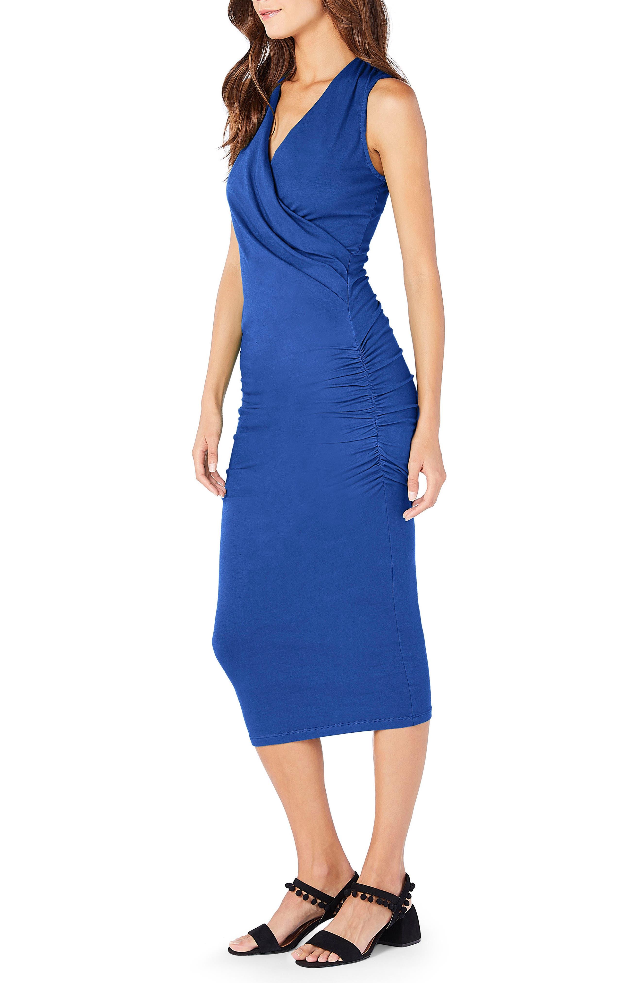 Faux Wrap Midi Dress,                             Alternate thumbnail 3, color,                             Marina
