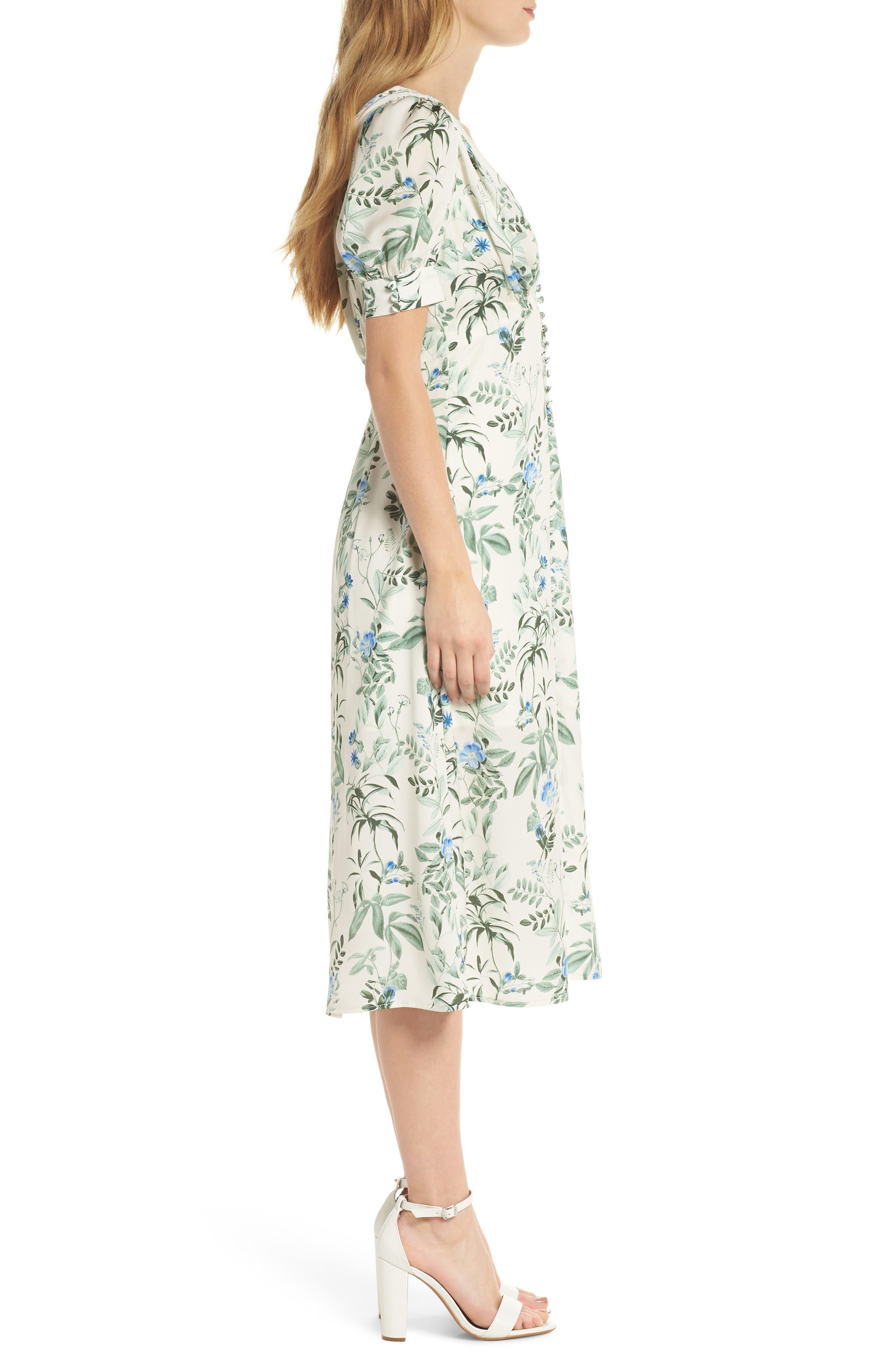 Lauren Botanical Garden Print Midi Dress,                             Alternate thumbnail 4, color,                             Bone/ Blue