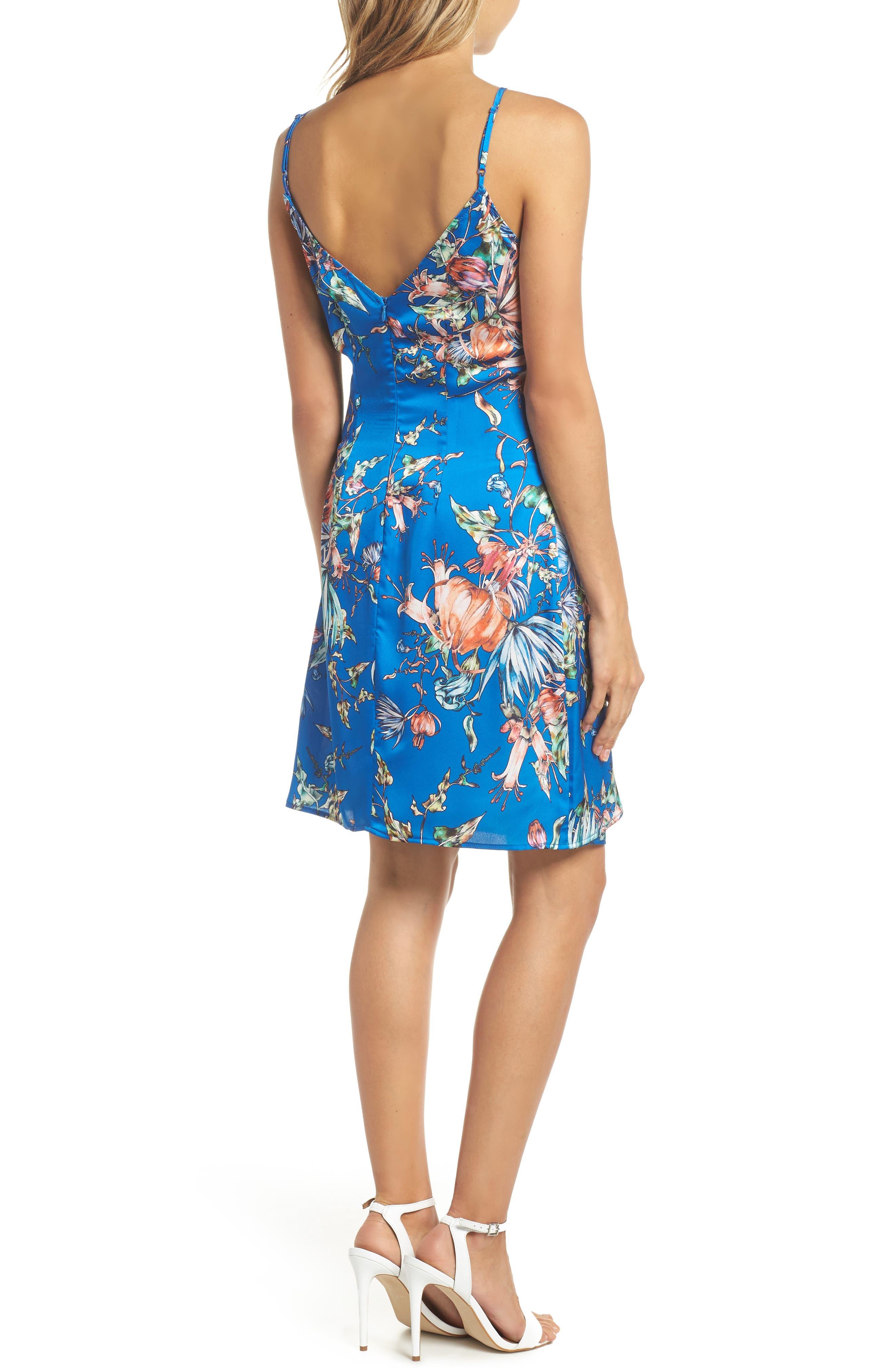 Floral Print Satin Faux Wrap Dress,                             Alternate thumbnail 2, color,                             Royal