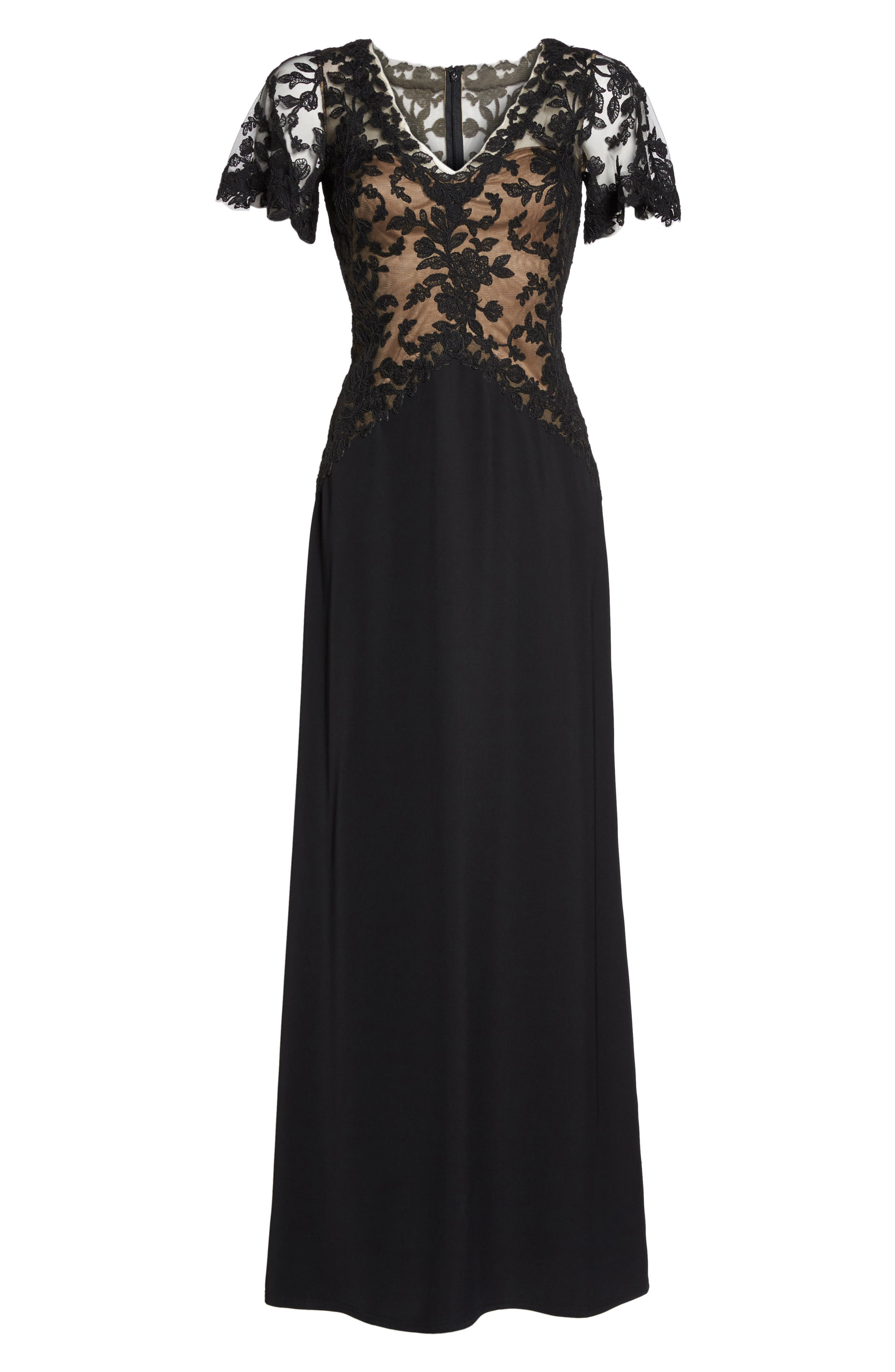 Lace & Crepe Gown,                             Alternate thumbnail 6, color,                             Black Nude
