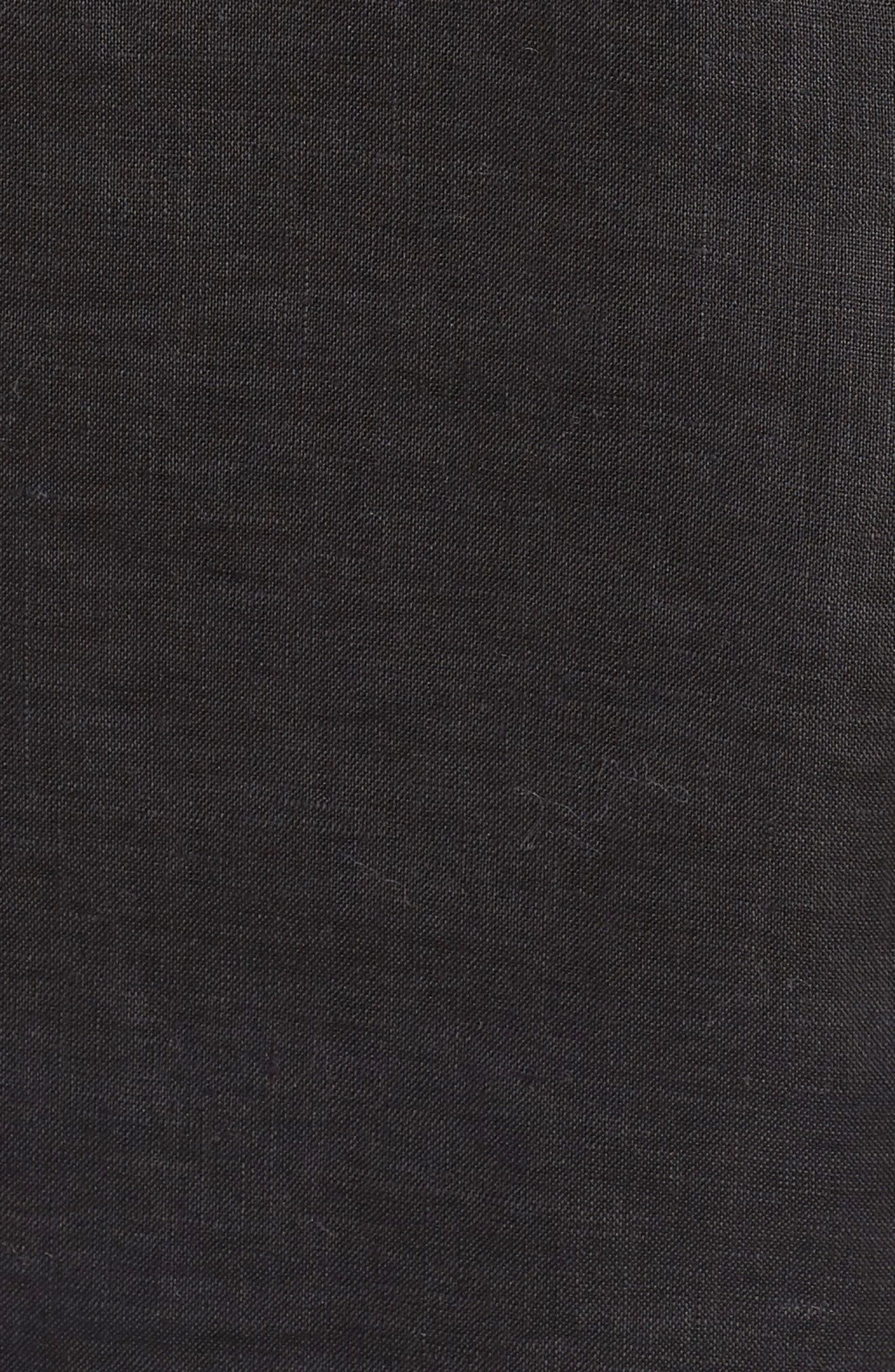 Bubble Dot Trim Linen Top,                             Alternate thumbnail 6, color,                             Rich Black
