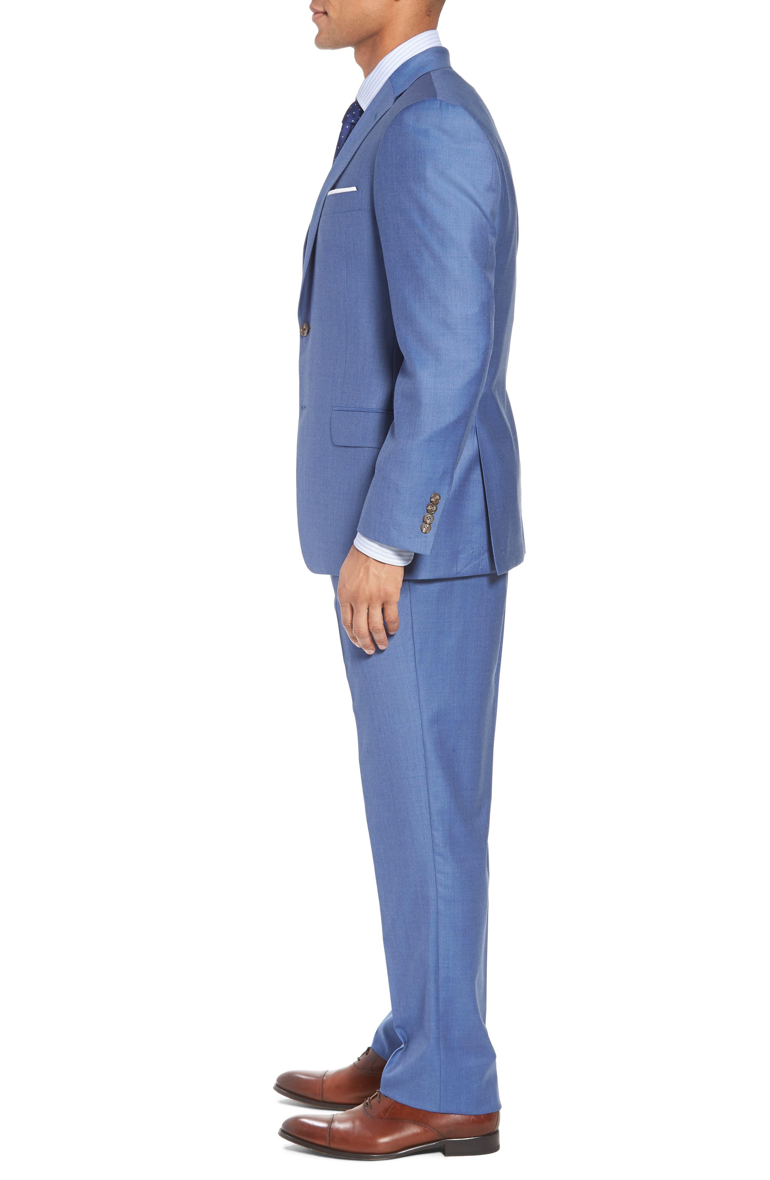 Classic B Fit Solid Wool Suit,                             Alternate thumbnail 3, color,                             Light Blue Solid