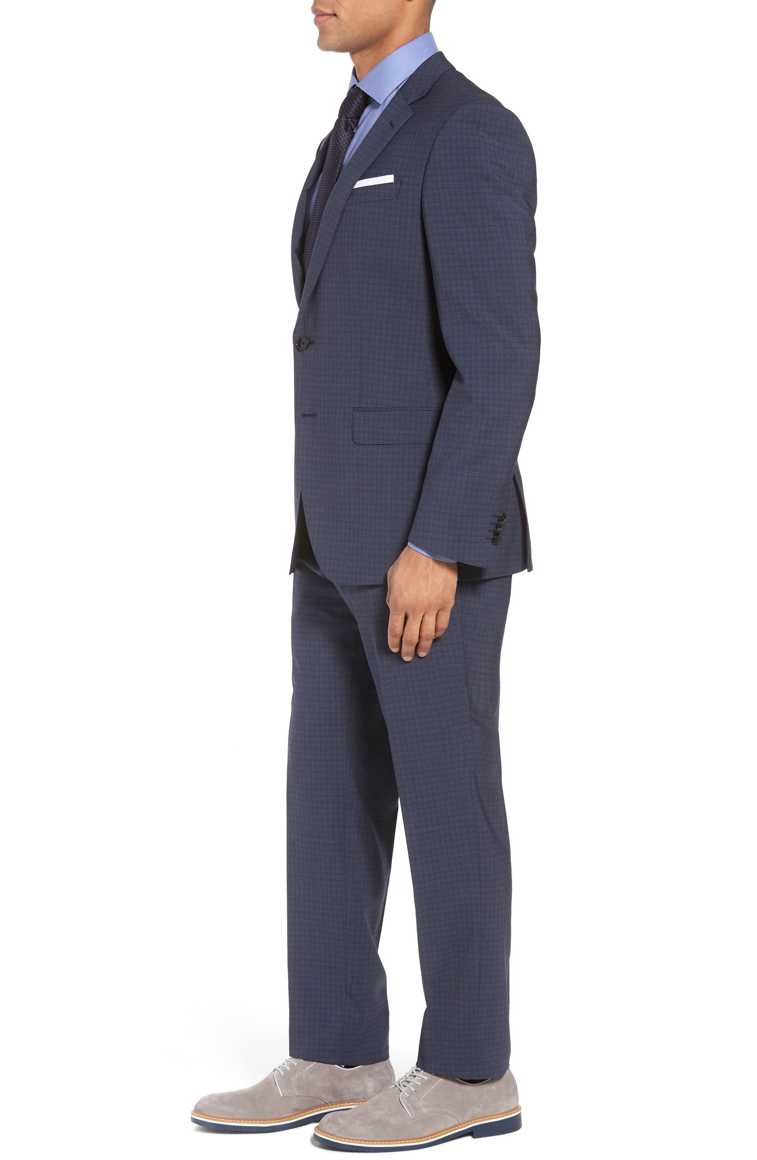 Huge/Genius Trim Fit Check Wool Suit,                             Alternate thumbnail 3, color,                             Blue/ Brown/ Charcoal