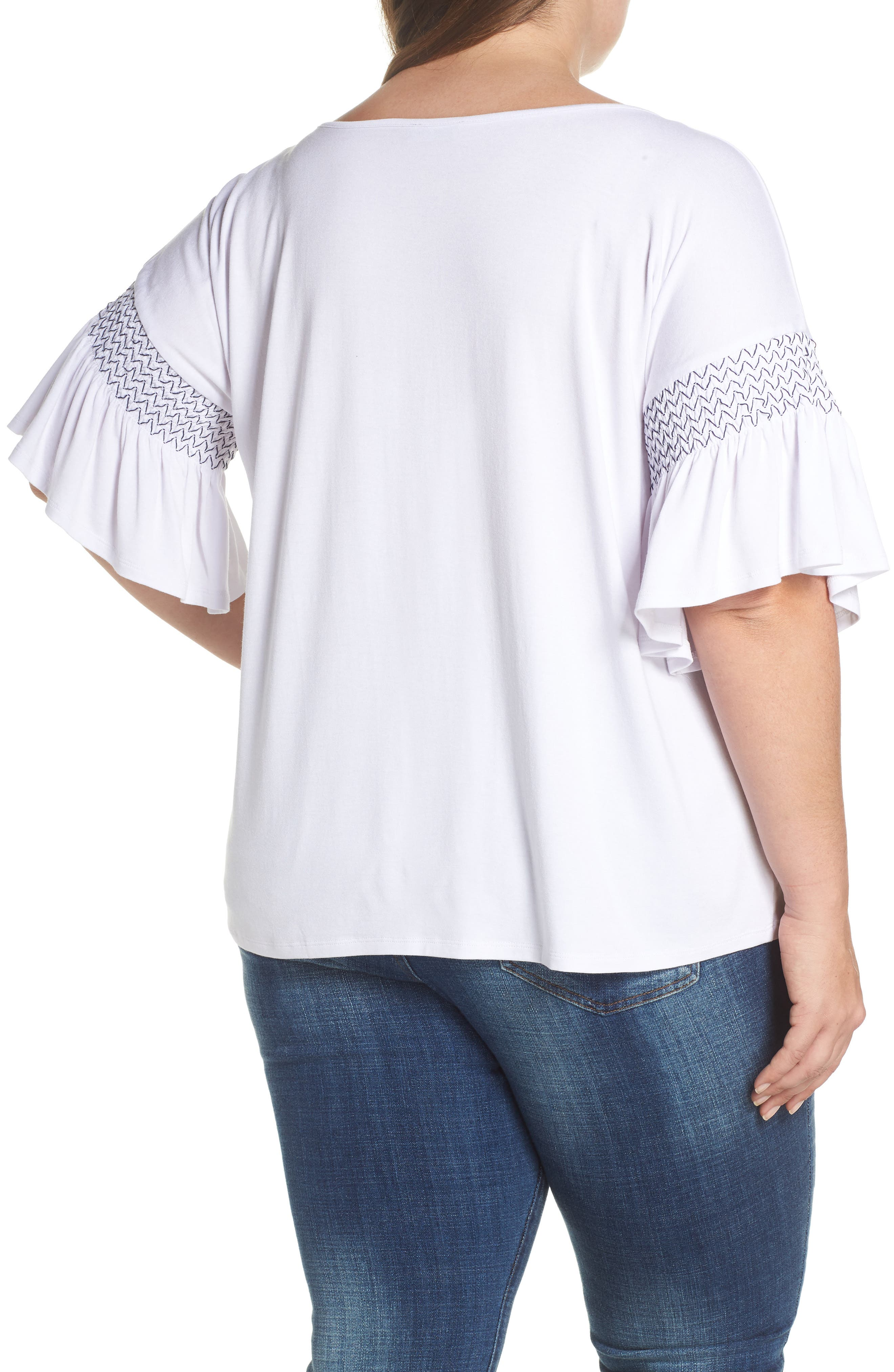 Dropped Smock Shoulder Ruffle Sleeve Top,                             Alternate thumbnail 2, color,                             Ultra White