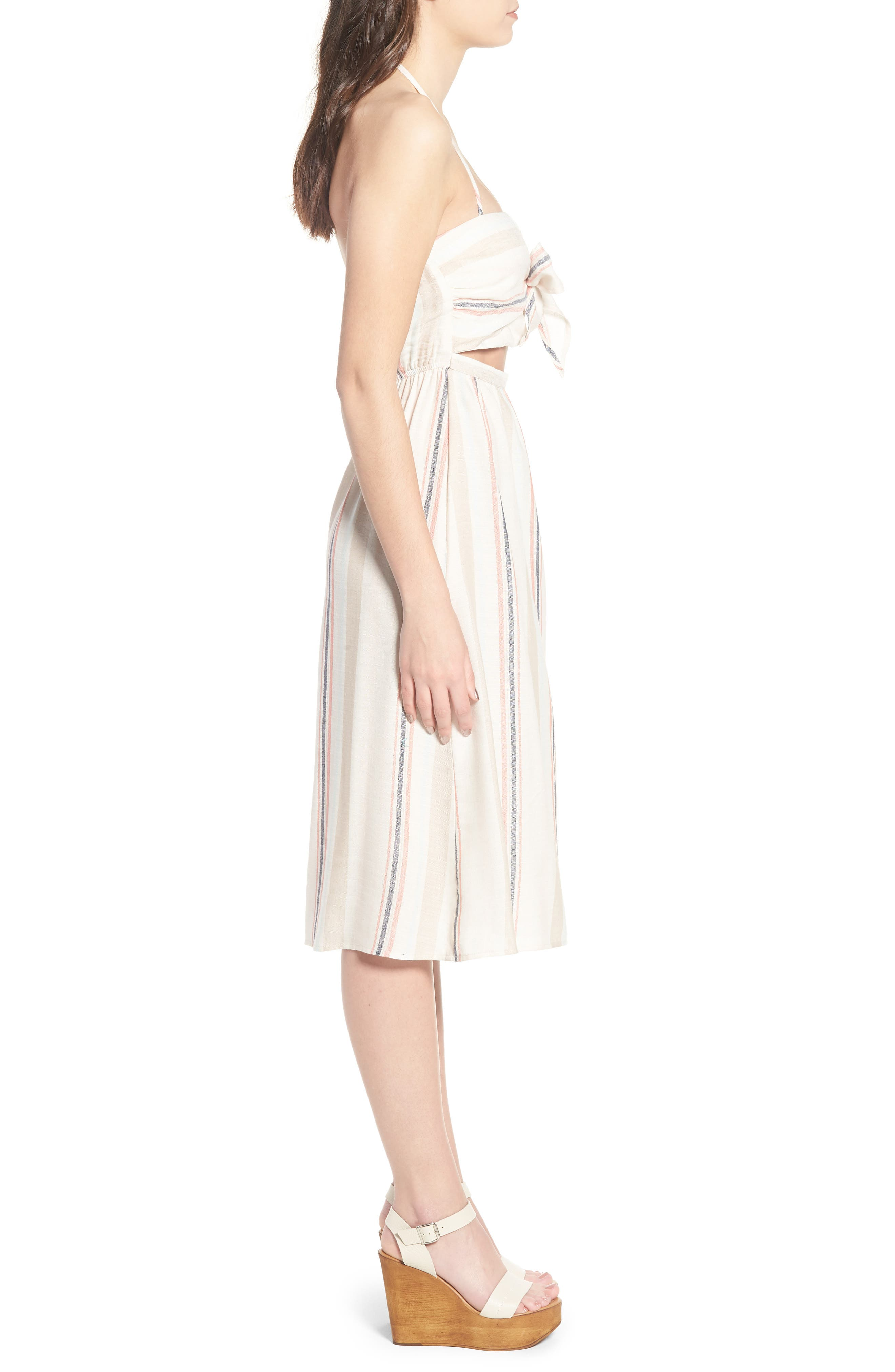 Tie Front Midi Dress,                             Alternate thumbnail 3, color,                             Ivory Red