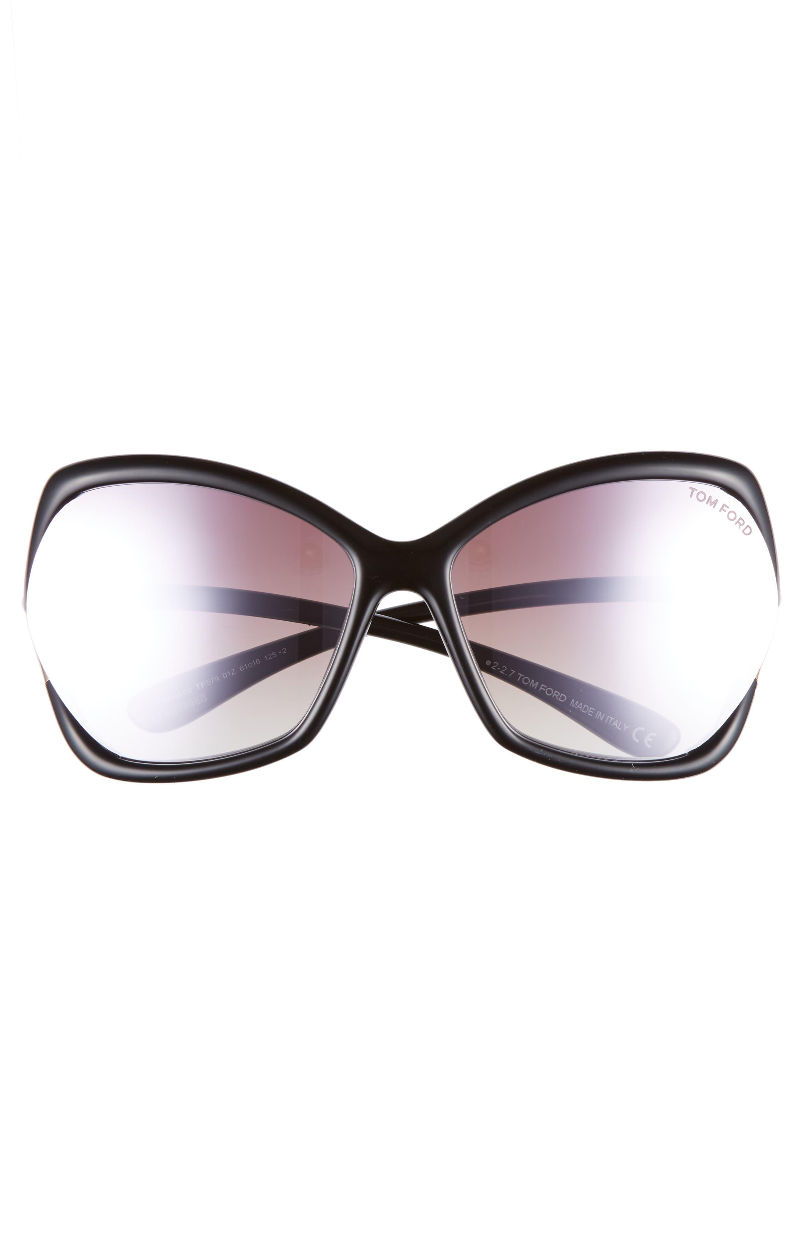 Astrid 61mm Geometric Sunglasses,                             Alternate thumbnail 3, color,                             Black/ Rose Gold/ Pink/ Silver