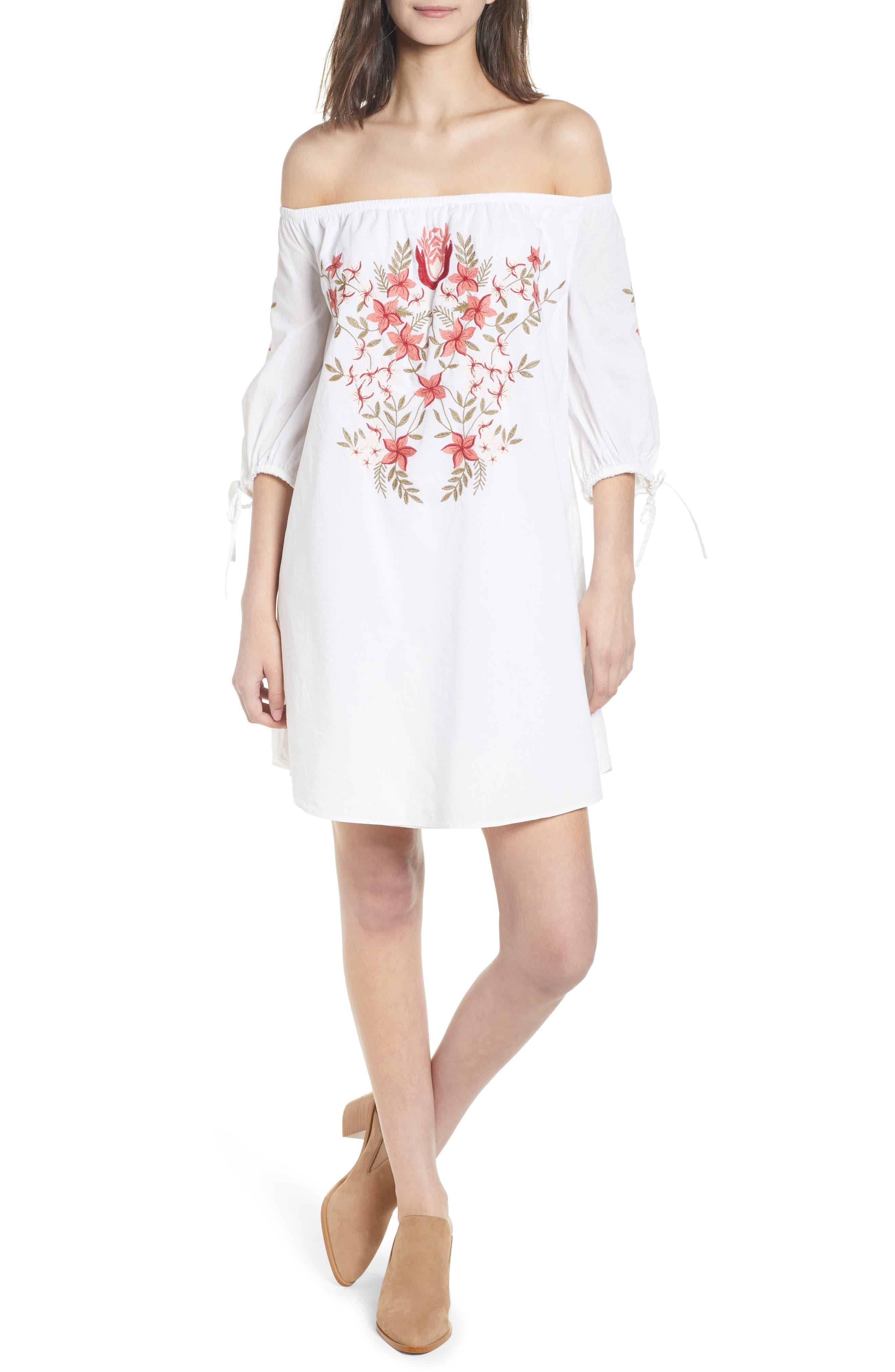 Hinge Embroidered Off the Shoulder Dress