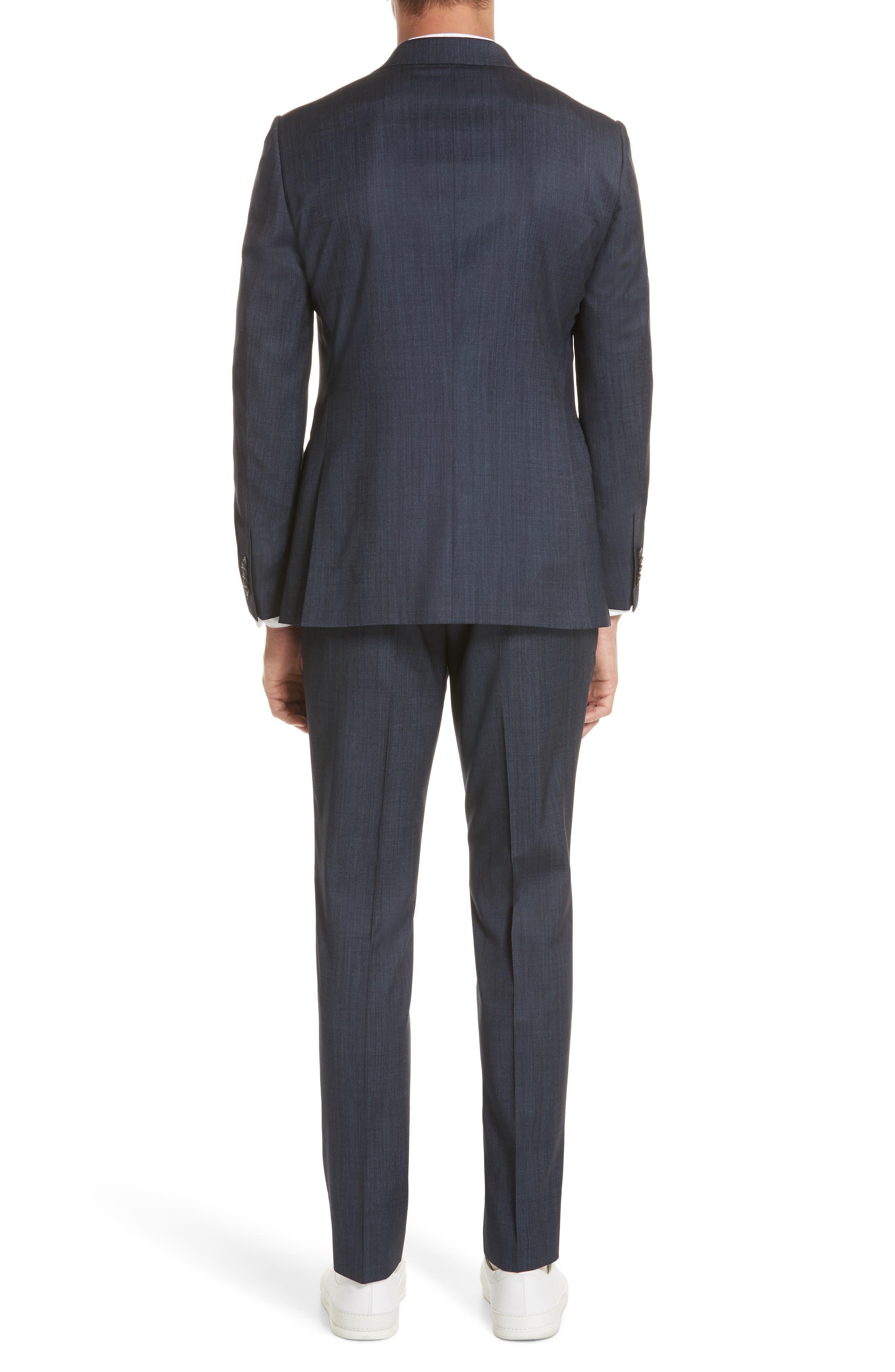 Trim Fit Solid Wool & Silk Suit,                             Alternate thumbnail 2, color,                             Navy