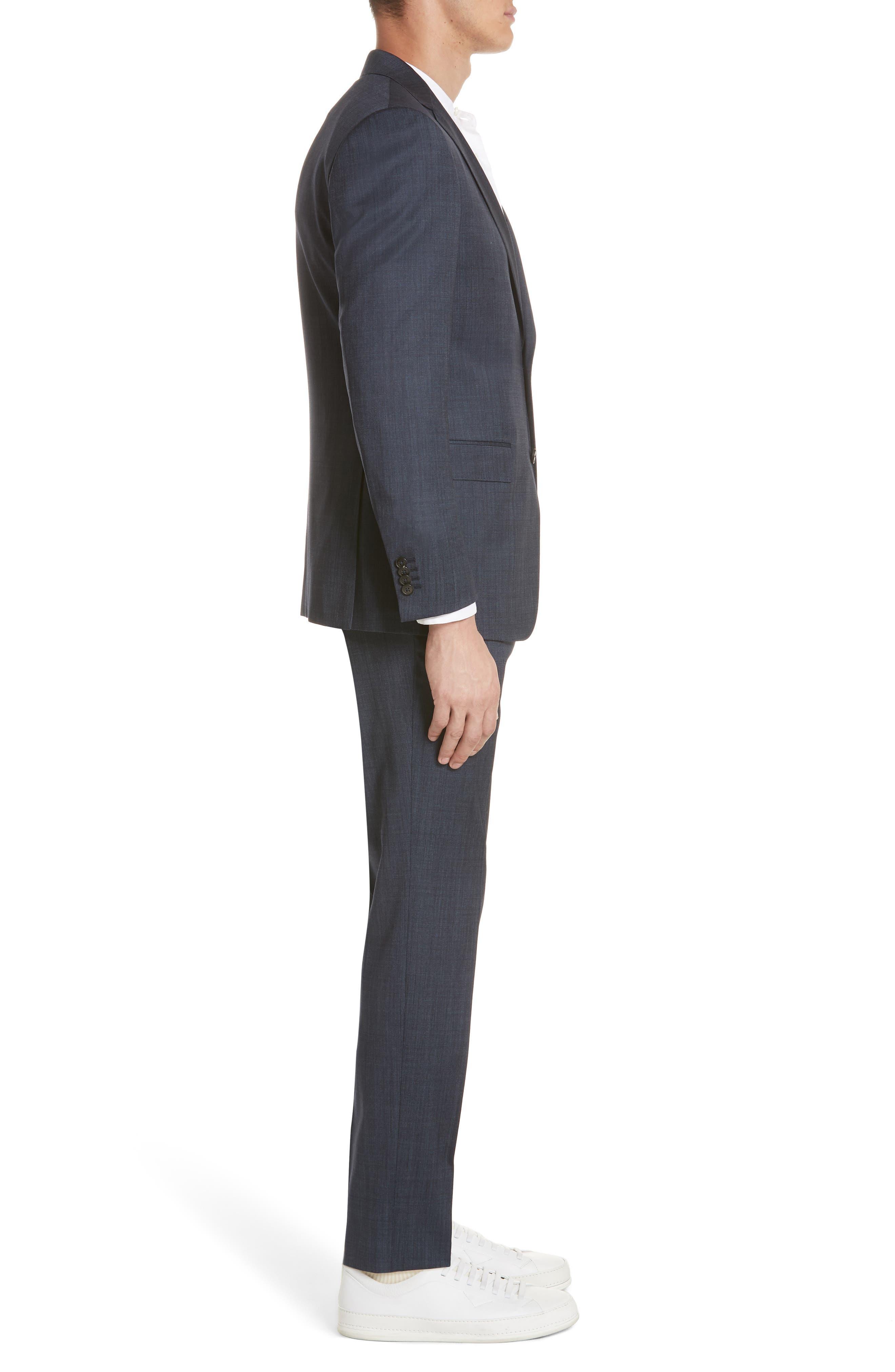 Trim Fit Solid Wool & Silk Suit,                             Alternate thumbnail 3, color,                             Navy