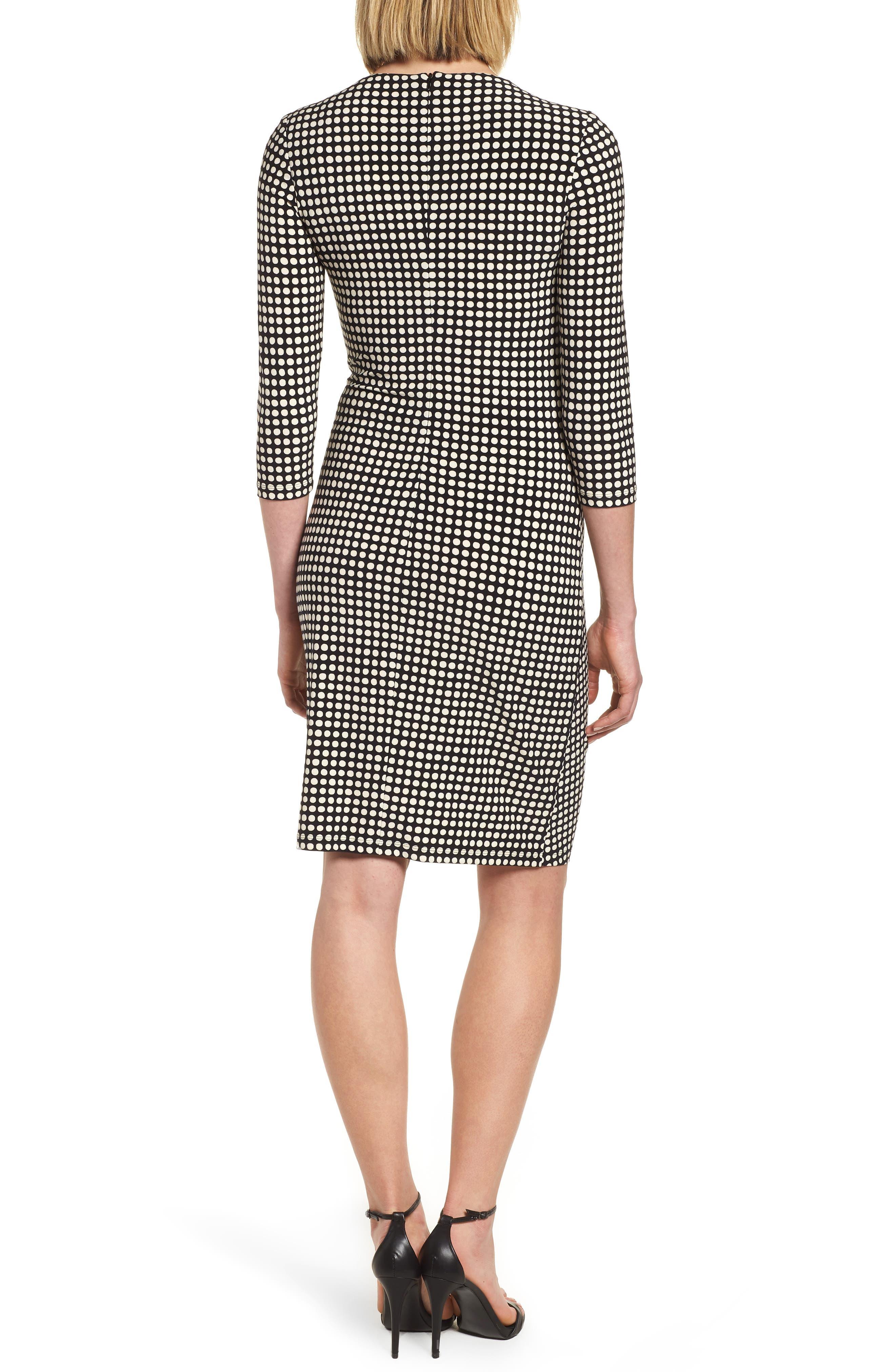 Polka Dot Faux Wrap Dress,                             Alternate thumbnail 2, color,                             Black/ Parchment