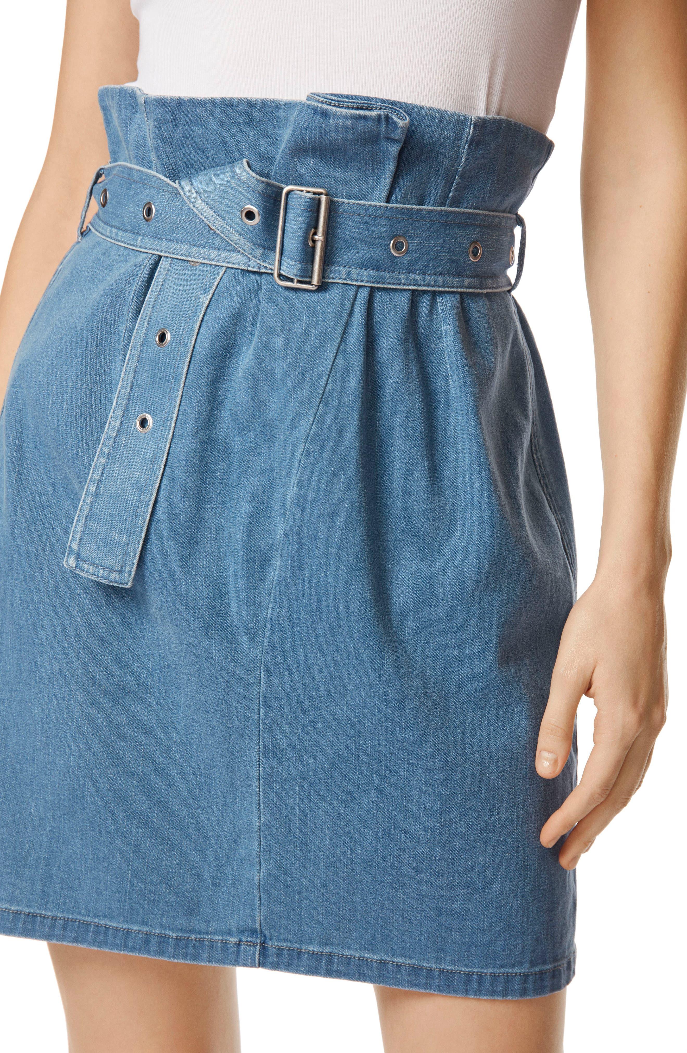 Tranquil Pleat Front Denim Skirt,                             Alternate thumbnail 4, color,                             Heavenly