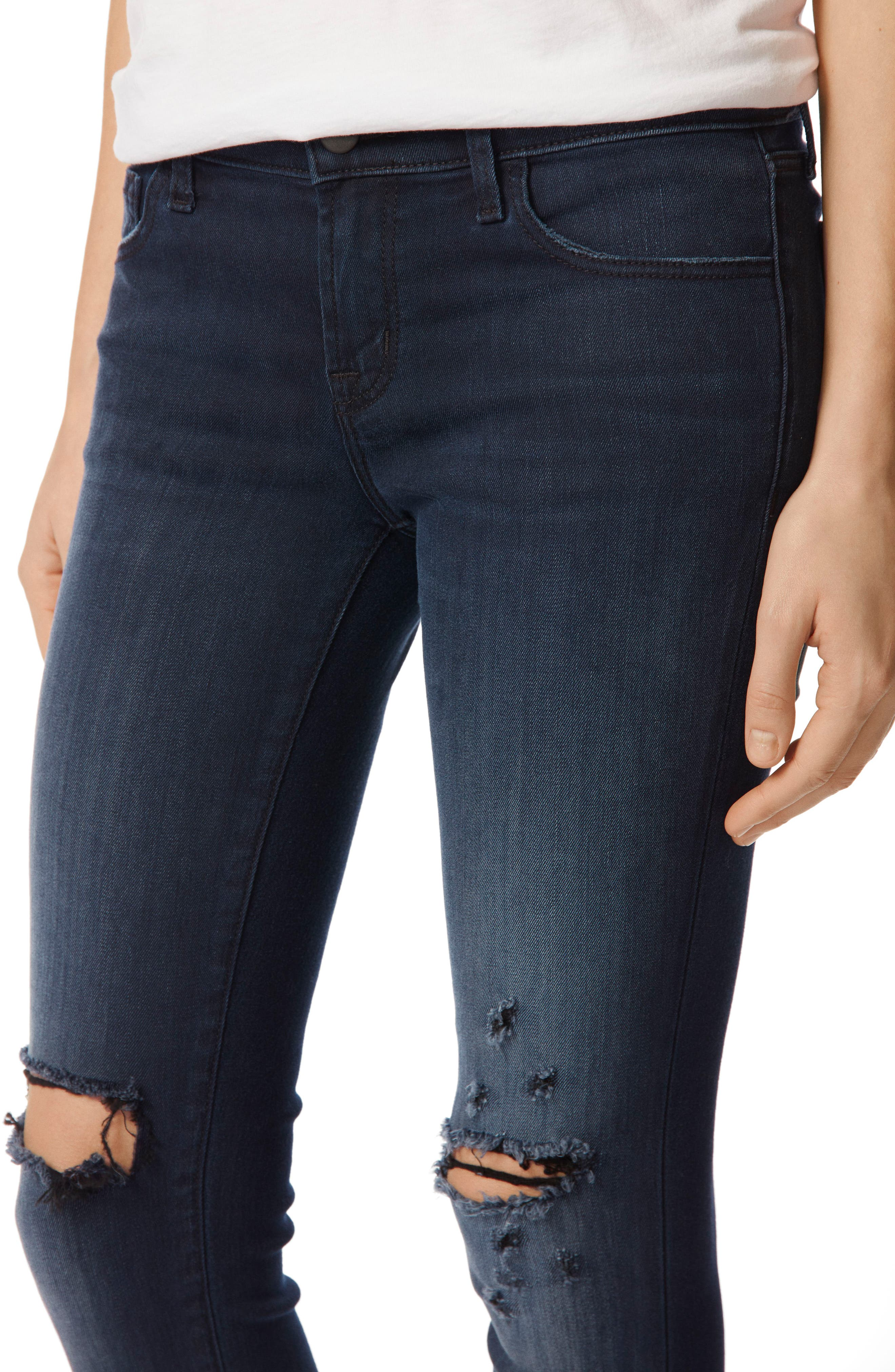 9326 Low Rise Crop Skinny Jeans,                             Alternate thumbnail 4, color,                             Black Sea