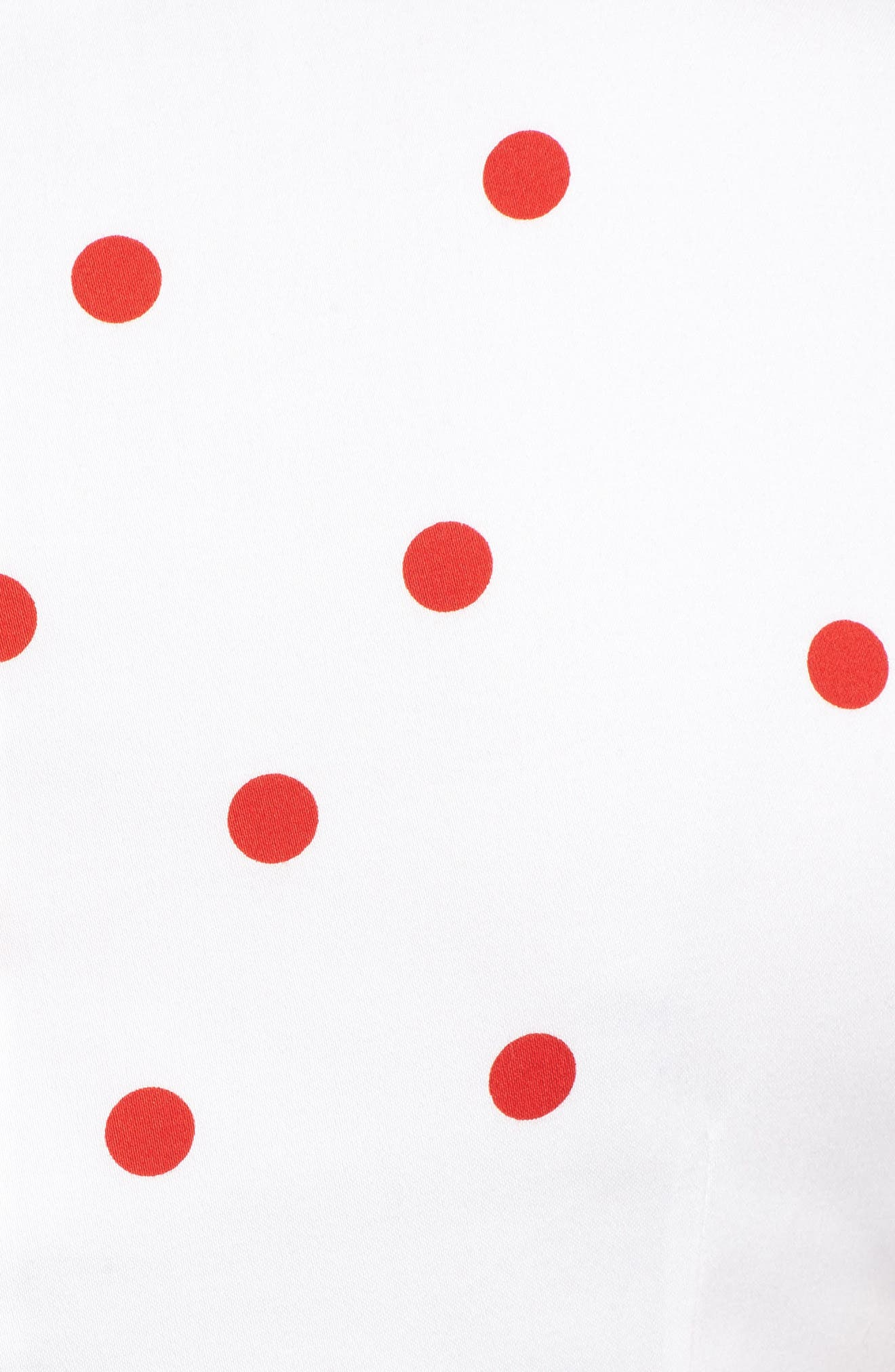 New York Scattered Dot Stretch Cotton Dress,                             Alternate thumbnail 5, color,                             Optic White/ Tomato