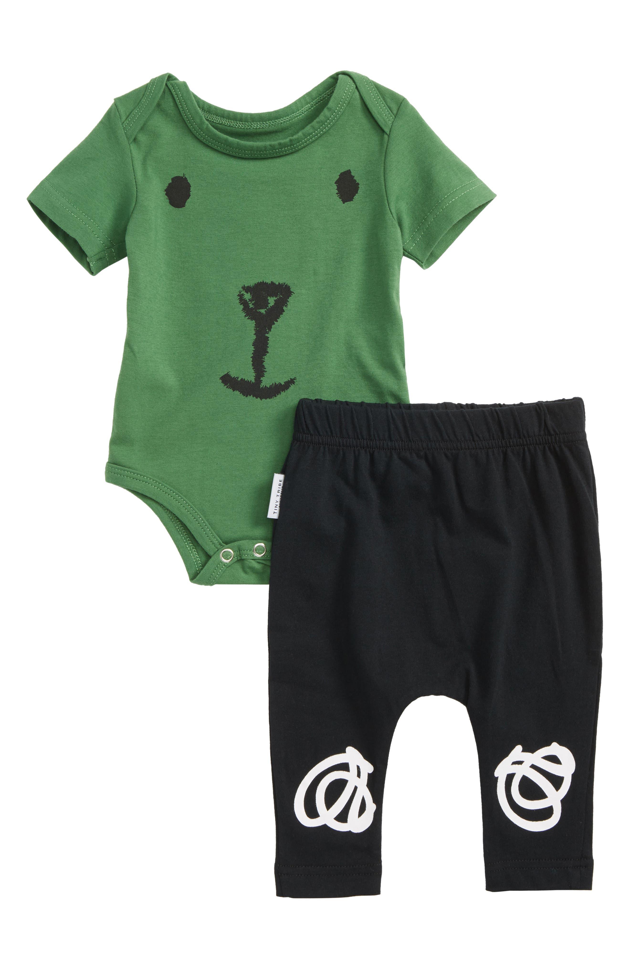 Honeybear Bodysuit & Pants Set,                             Main thumbnail 1, color,                             Green/ Black