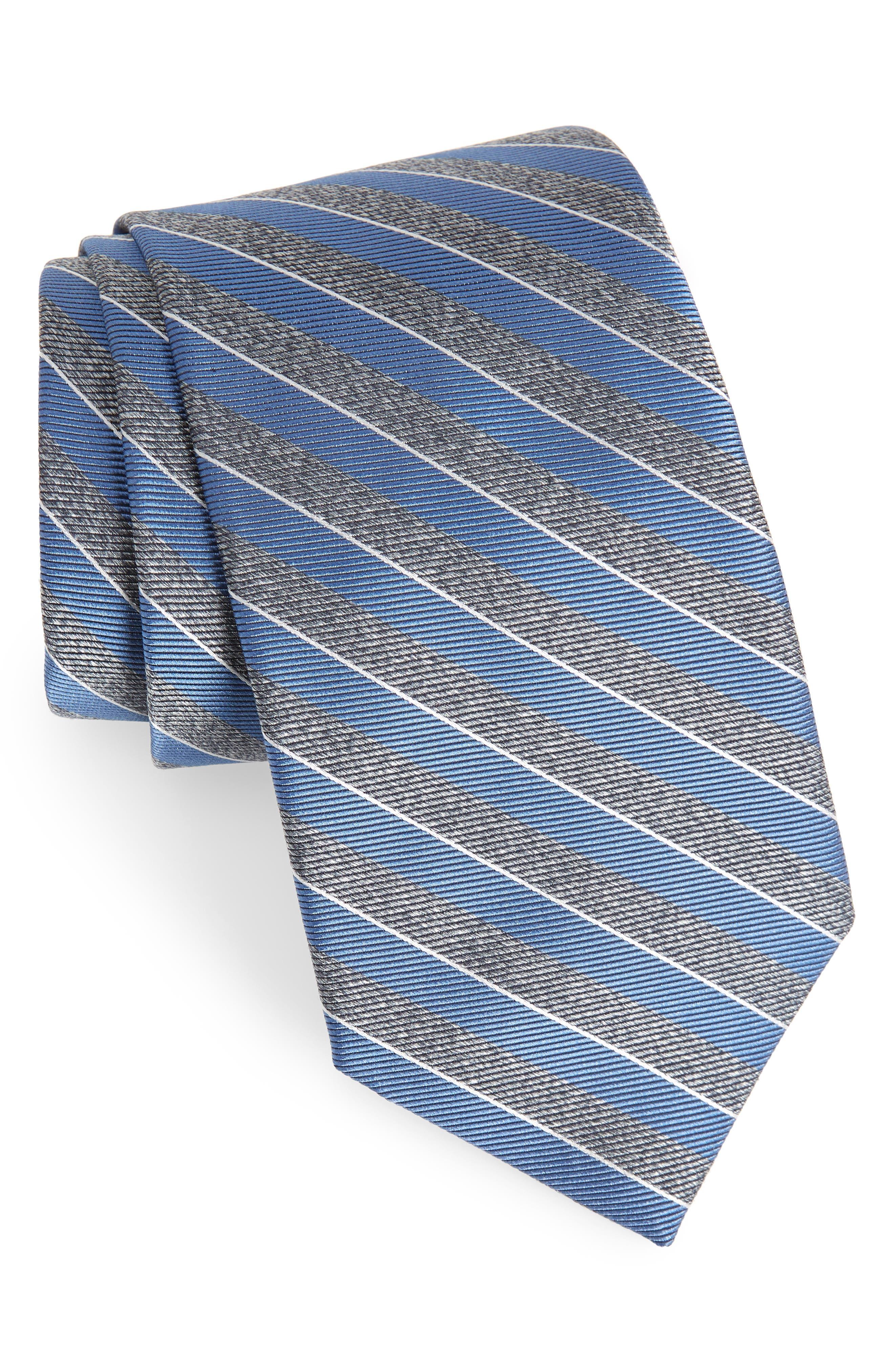 Valley Stripe Silk Tie,                         Main,                         color, Blue Raffia