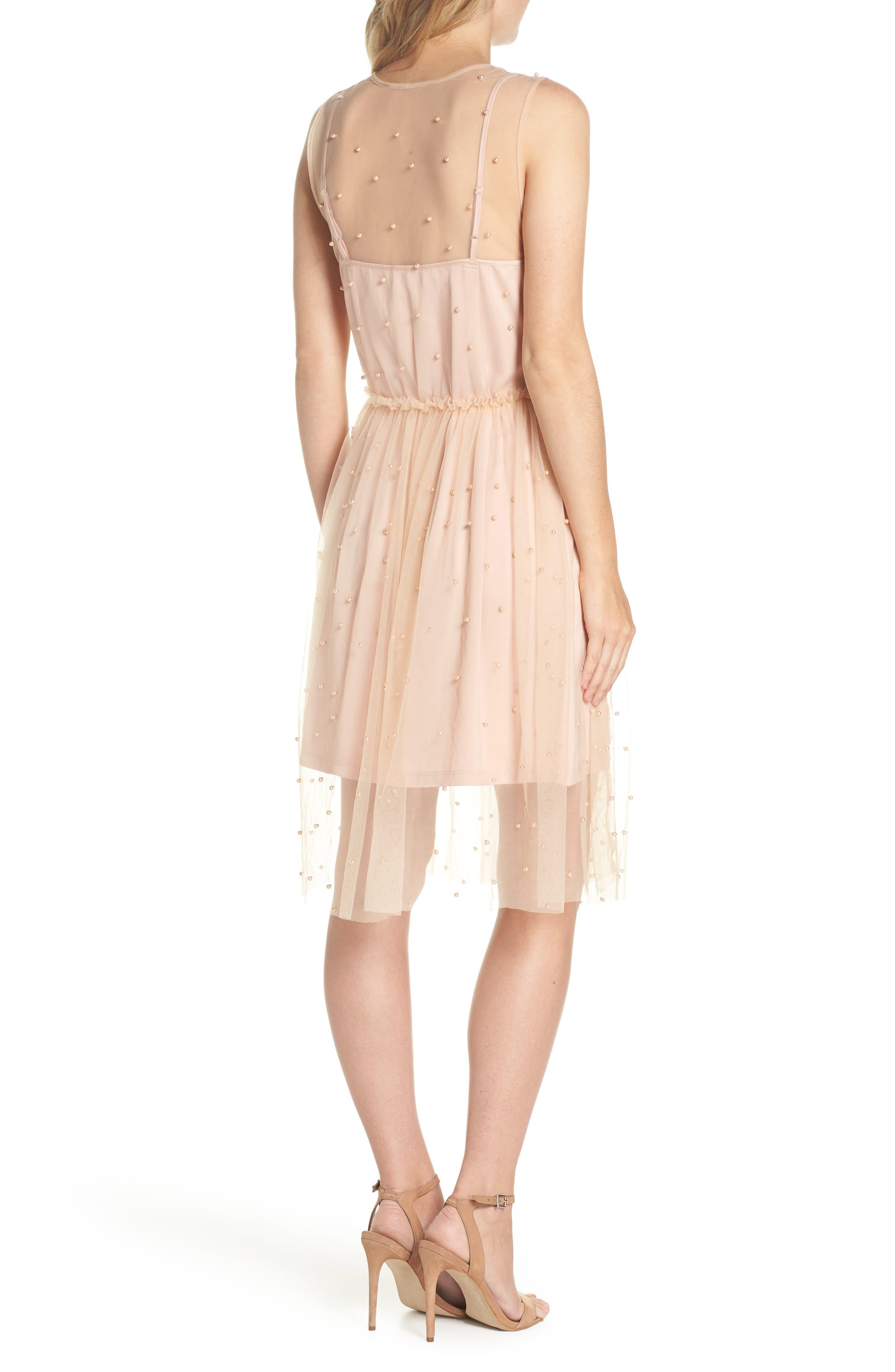Imitation Pearl & Tulle Dress,                             Alternate thumbnail 2, color,                             Blush