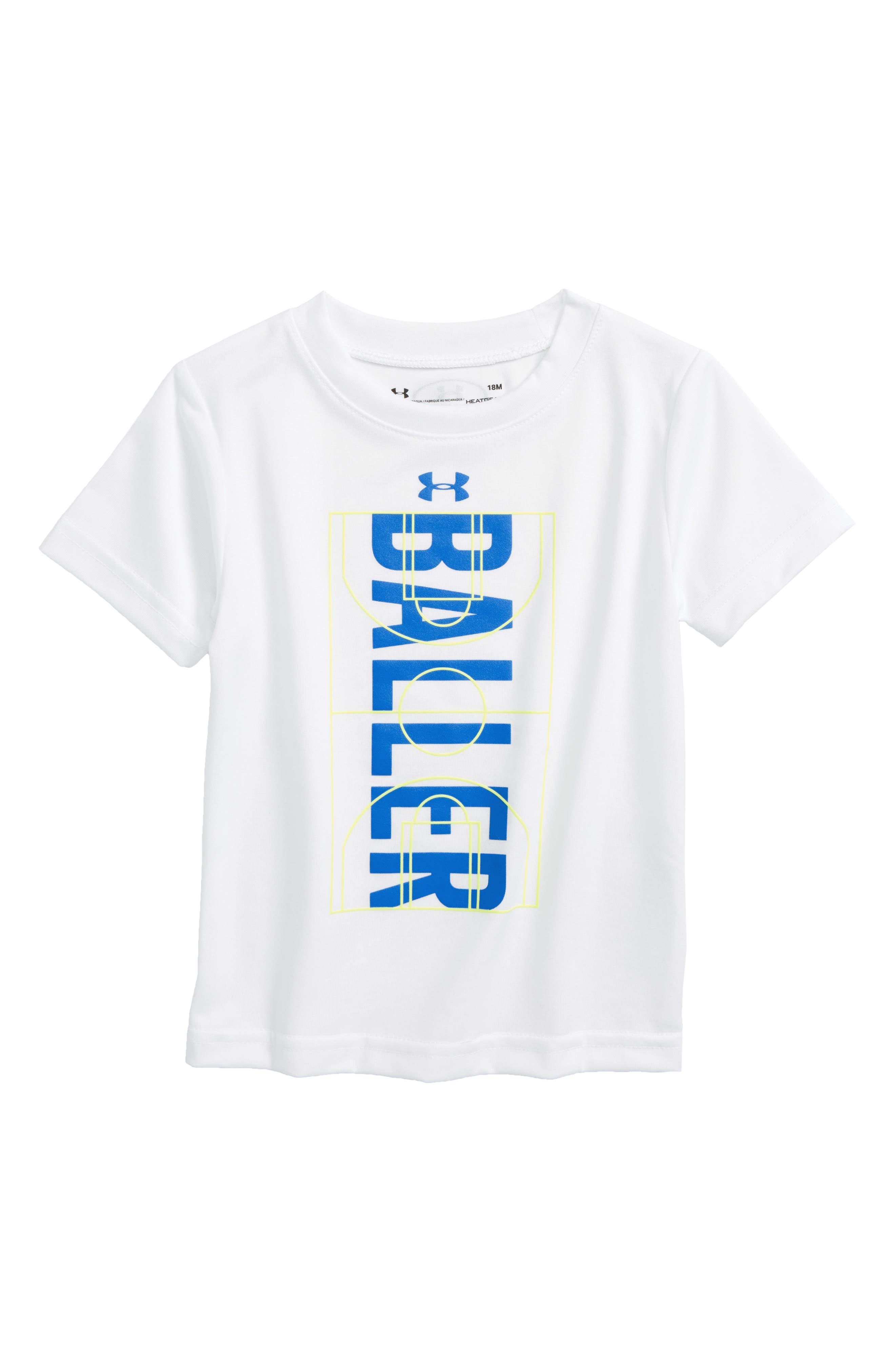 Baller HeatGear<sup>®</sup> Glow-in-the-Dark T-Shirt,                         Main,                         color, White