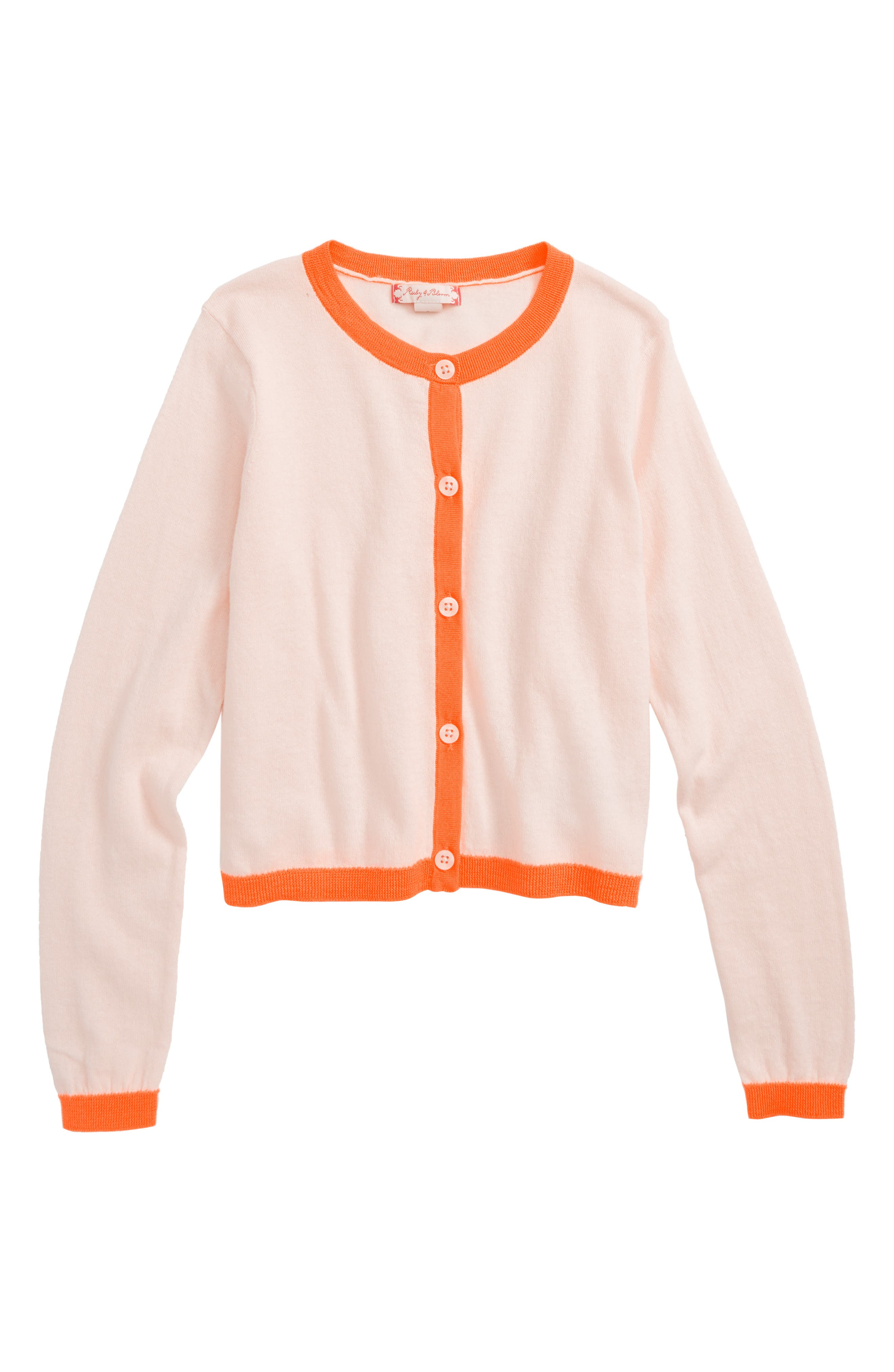 Alternate Image 1 Selected - Ruby & Bloom Contrast Trim Cardigan (Toddler Girls, Little Girls & Big Girls)