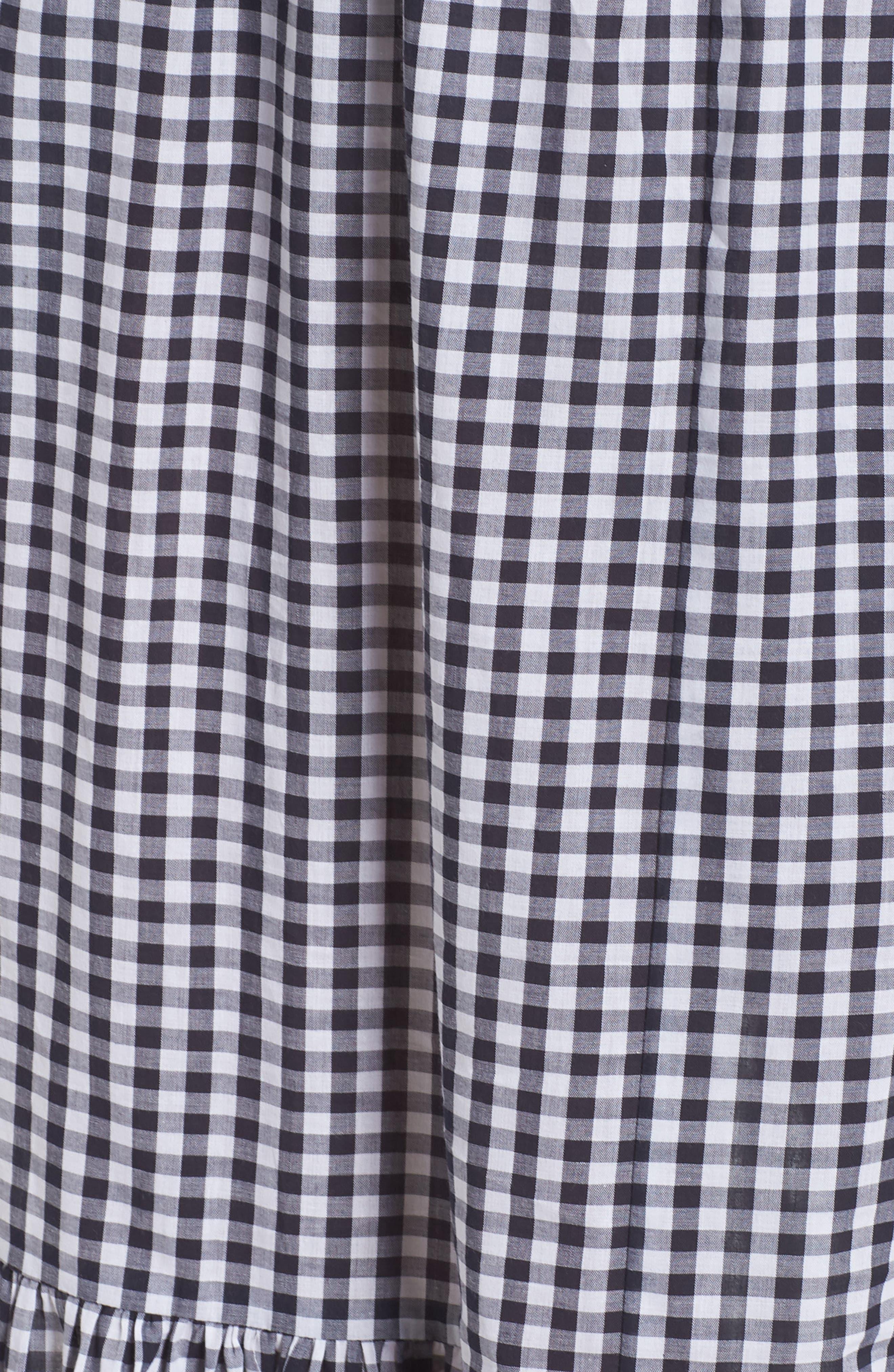 Off the Shoulder Gingham Maxi Dress,                             Alternate thumbnail 5, color,                             Blue White Gingham