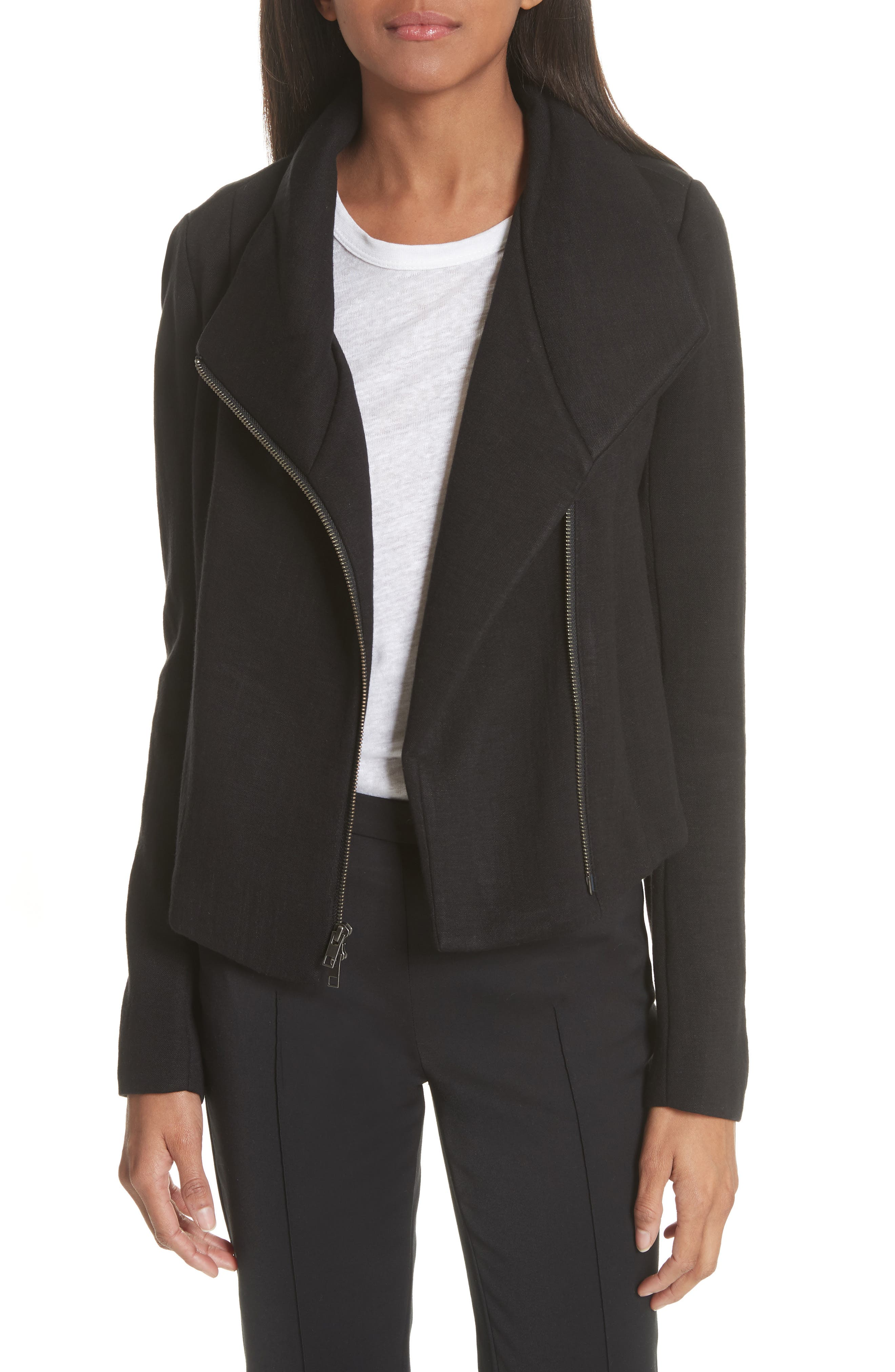 Knit Moto Jacket,                         Main,                         color, Black