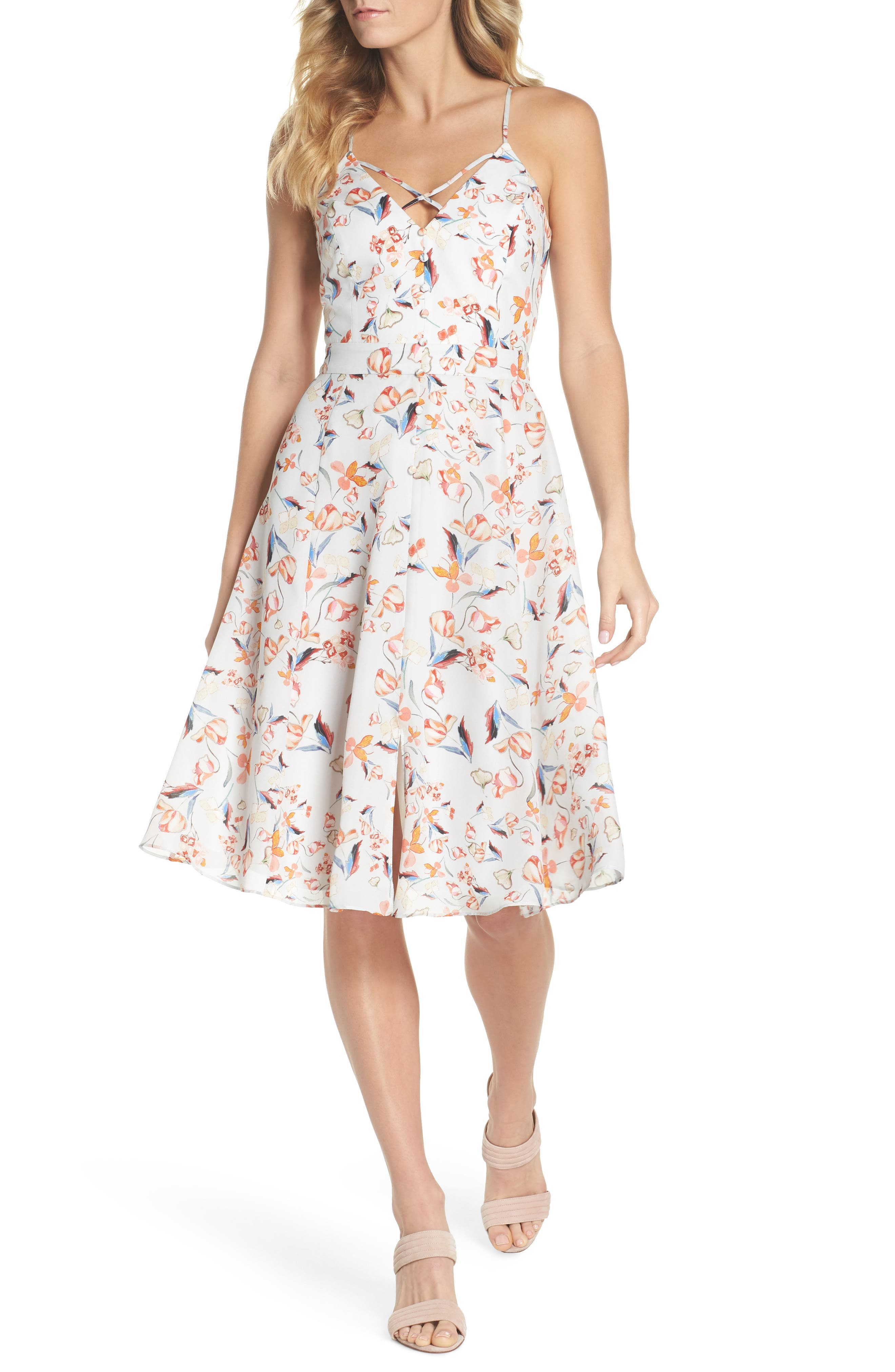 Tiffany Floral Fit & Flare Dress,                             Main thumbnail 1, color,                             Crystal Blue Multi