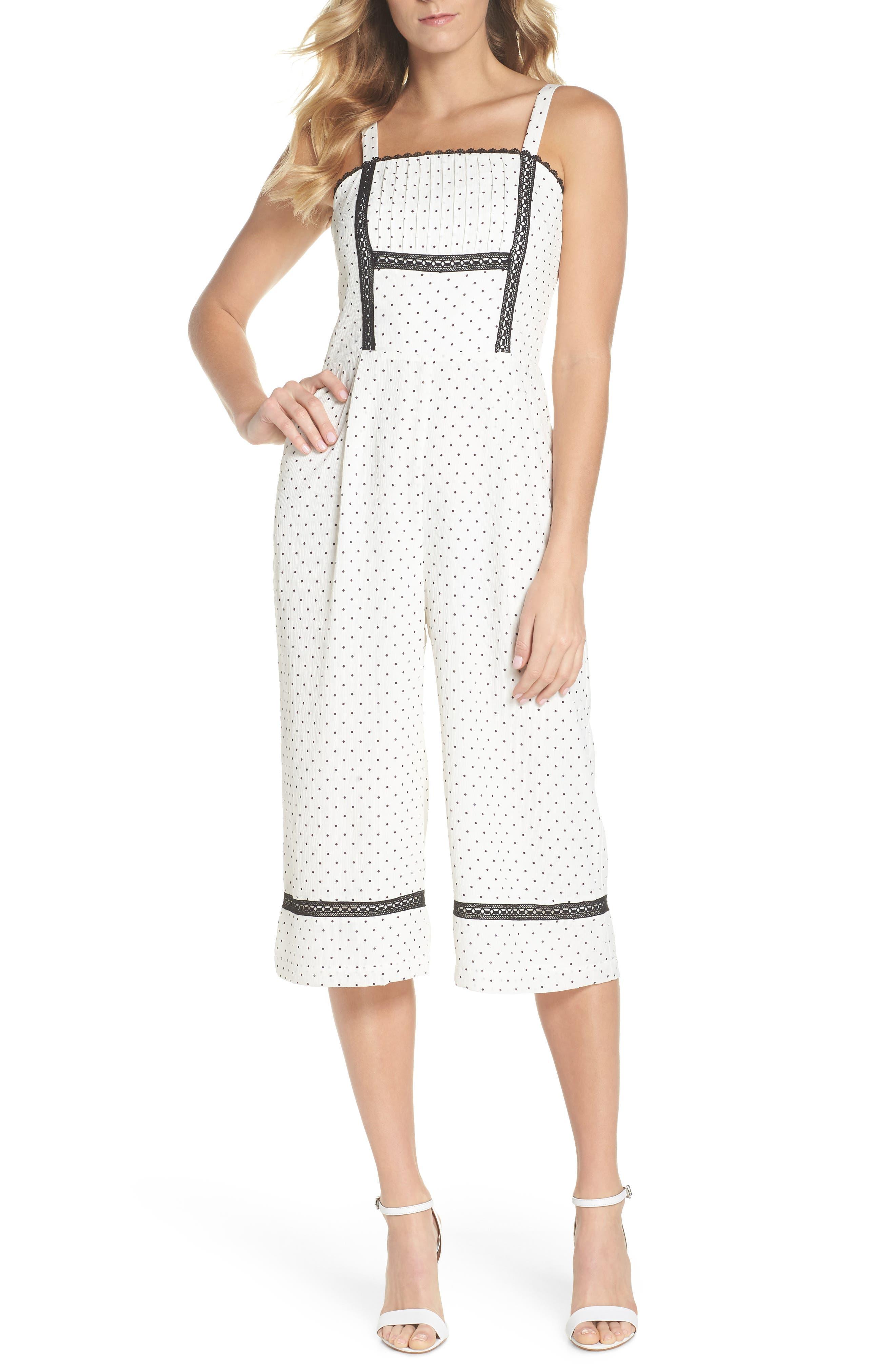 Nadine Polka Dot Culotte Jumpsuit,                         Main,                         color, White/ Black