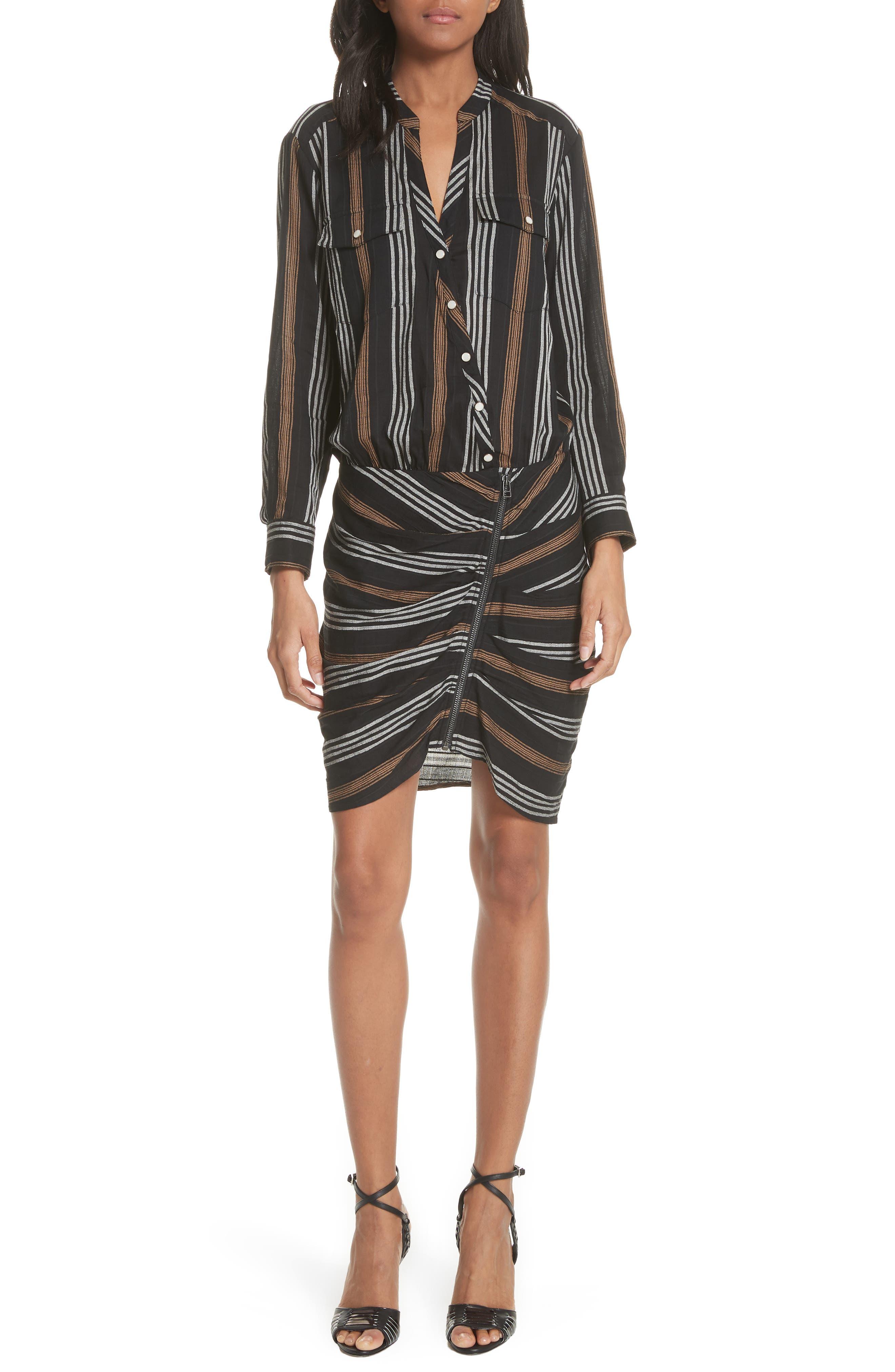 Emory Stripe Shirtdress,                             Main thumbnail 1, color,                             Black Multi