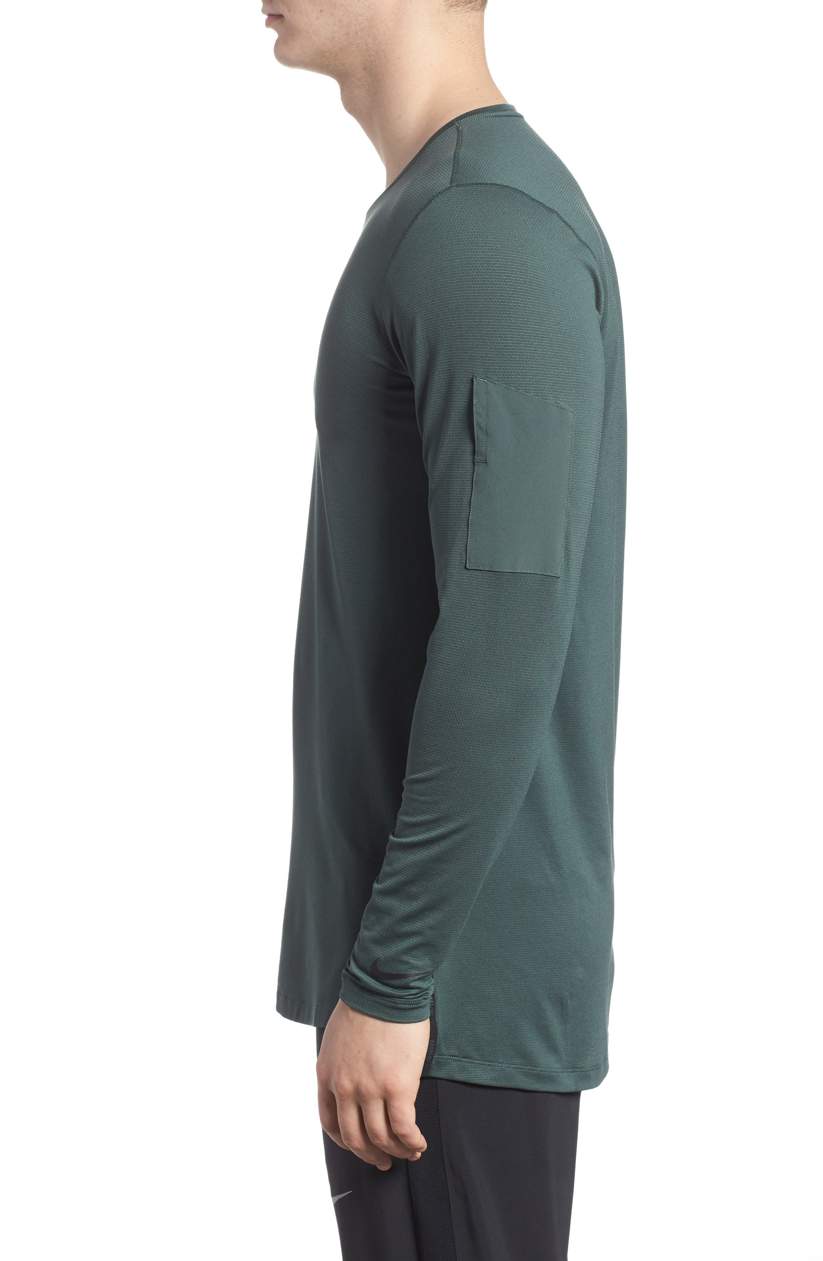 Pro Utility Fitted Training Top,                             Alternate thumbnail 3, color,                             Vintage Green/ Black