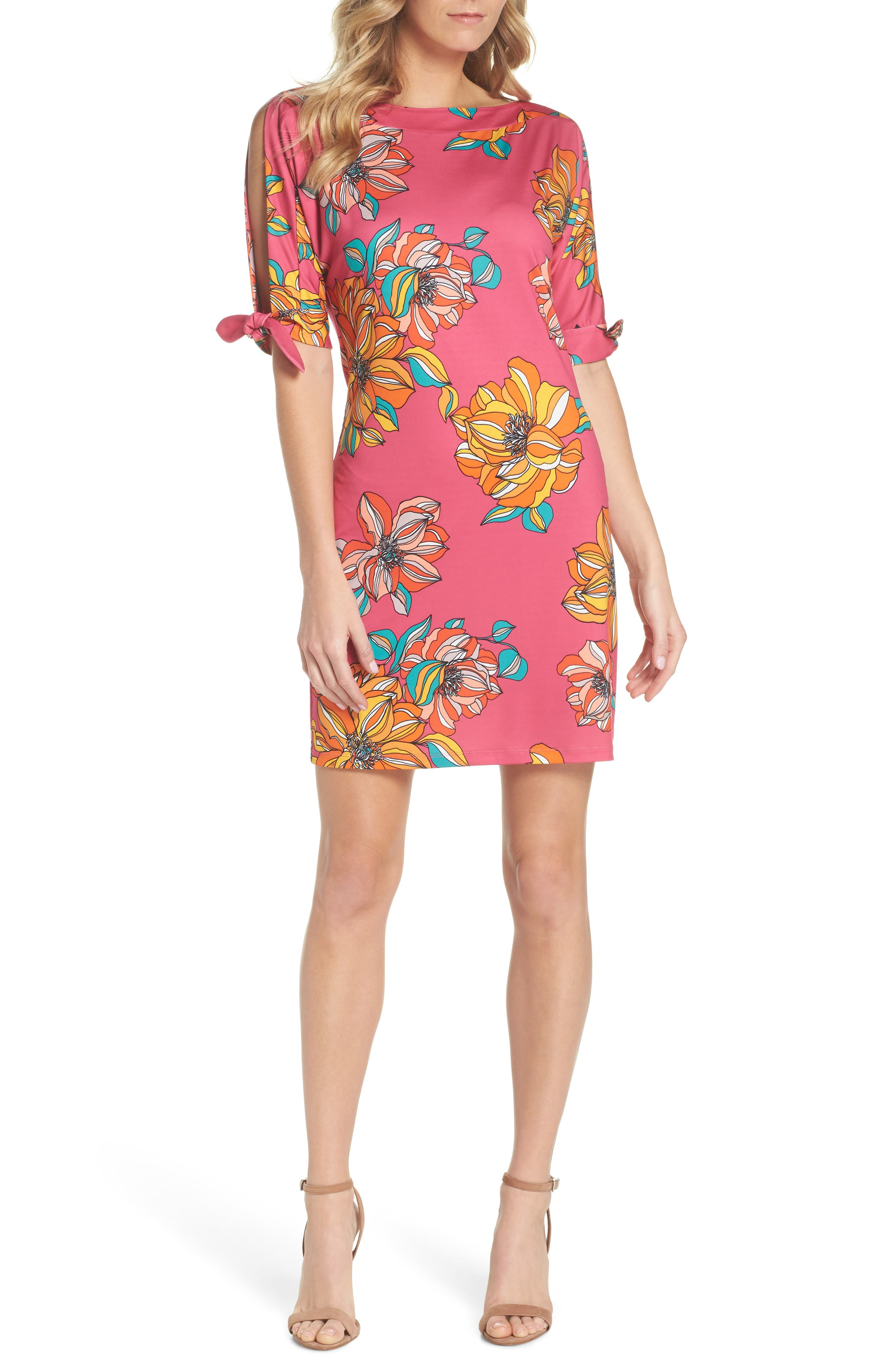 Vinet Floral Jersey Dress,                             Main thumbnail 1, color,                             Peony