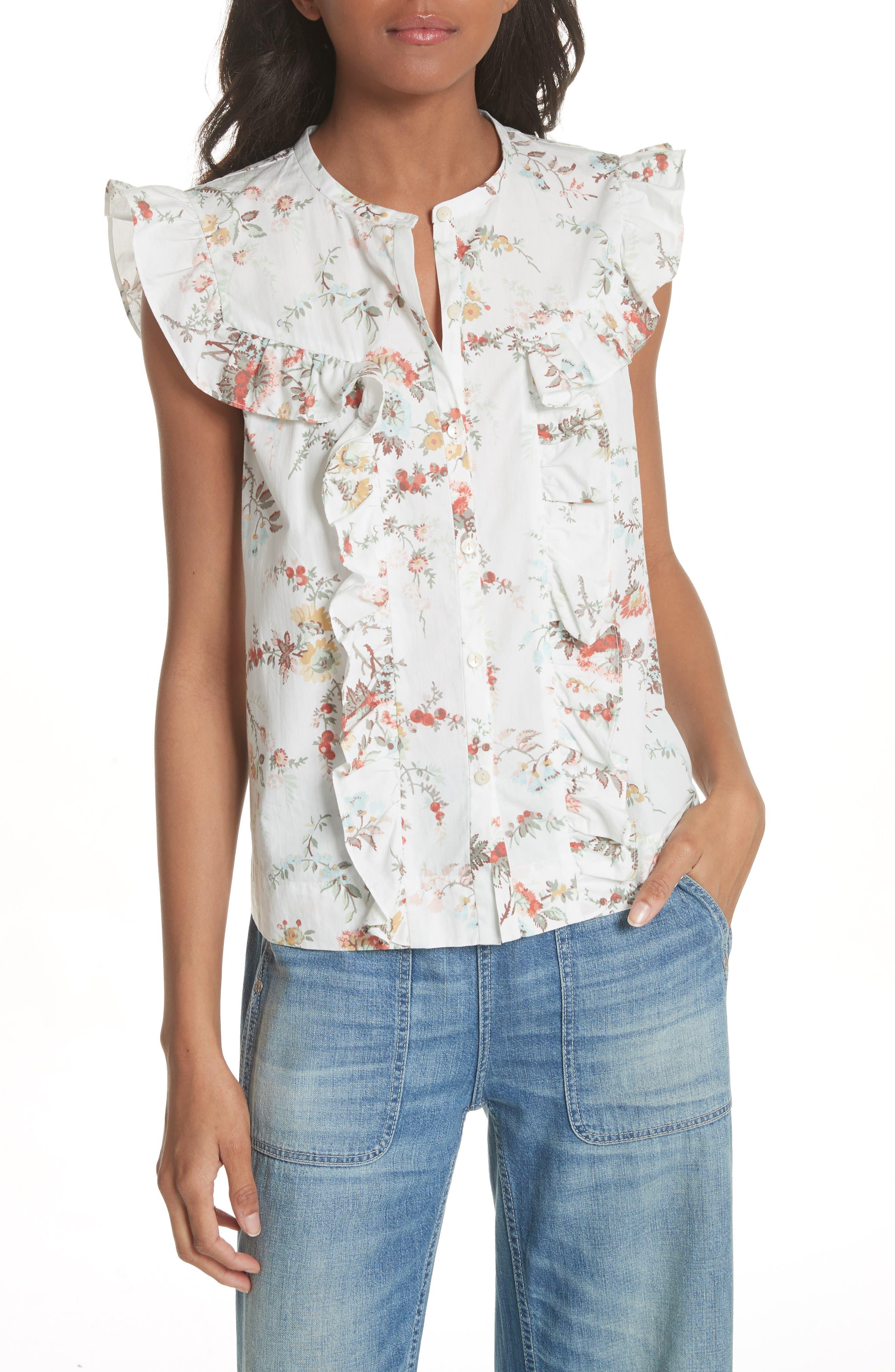 Belle Ruffle Floral Cotton Top,                         Main,                         color, Milk Combo