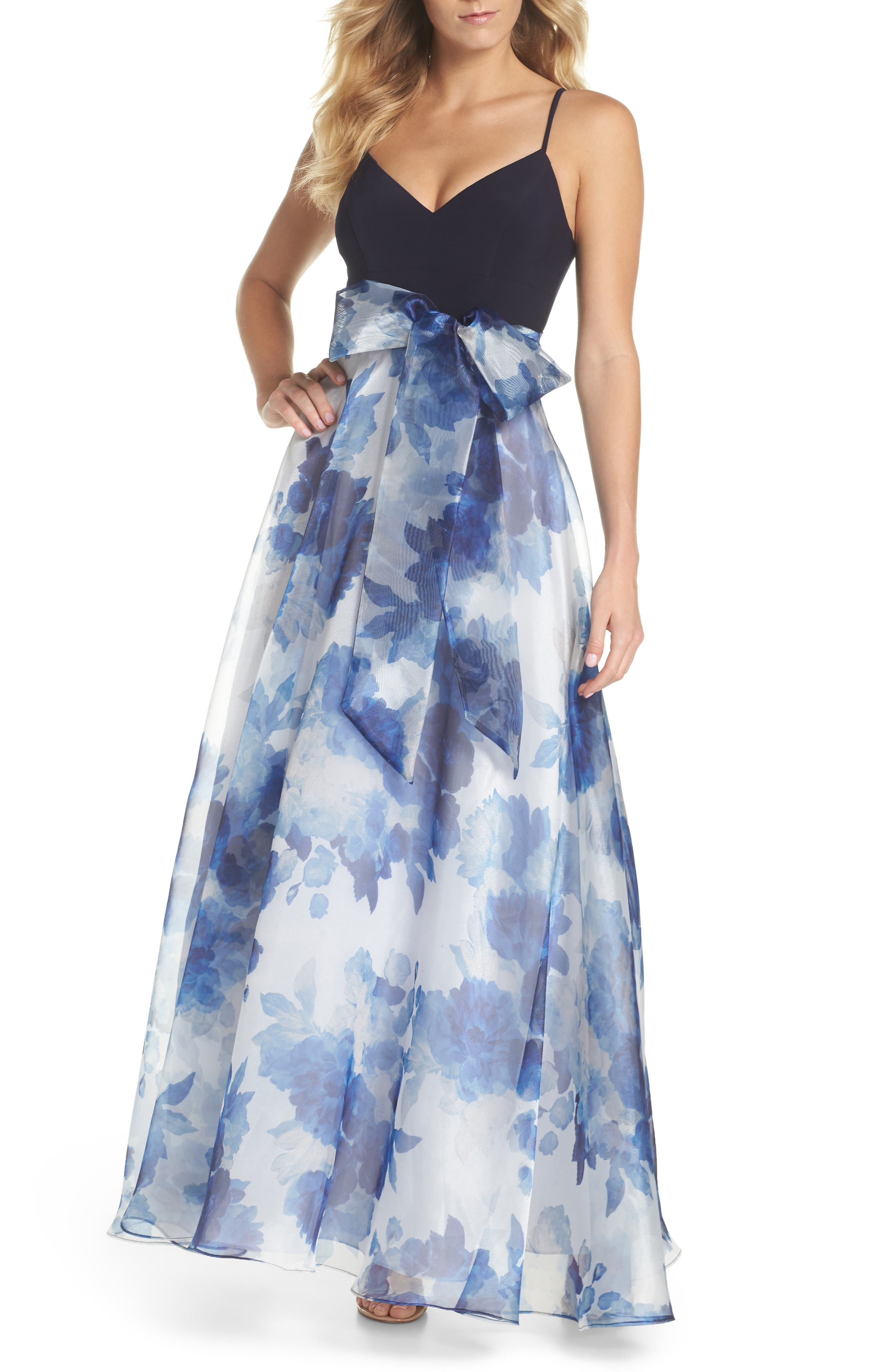 Floral Organza Gown,                             Main thumbnail 1, color,                             Navy Multi